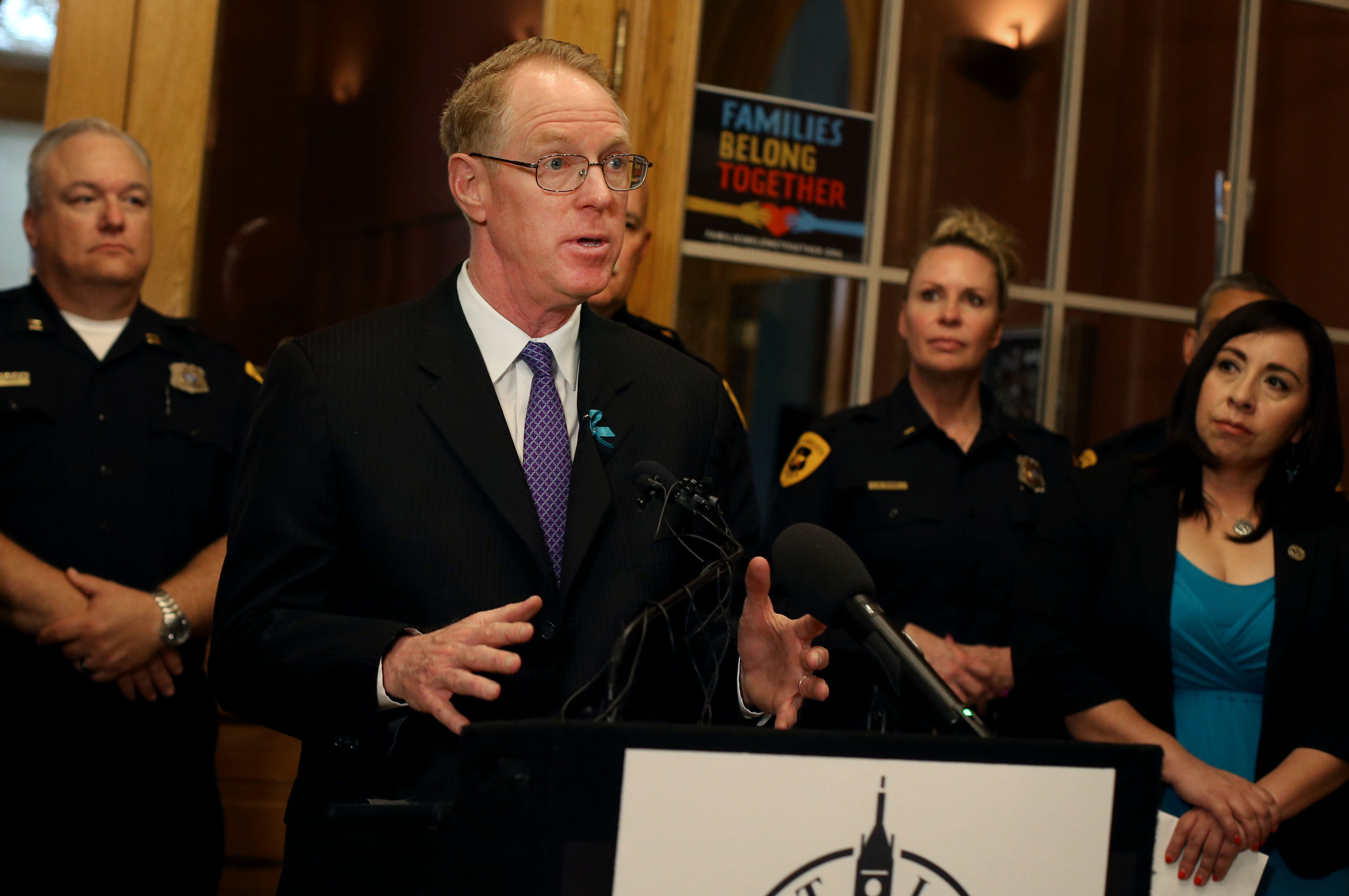 Paul Cassell, a former federal judge and law professor at the University of Utah, endorses the Start by Believing campaign during a press conference in Salt Lake City on Wednesday, April 3, 2019. Start by Believing is a public awareness program developed by End Violence Against Women International designed to address the issue of many victims not receiving the support they need when they choose to report having been a victim of sexual assault.
