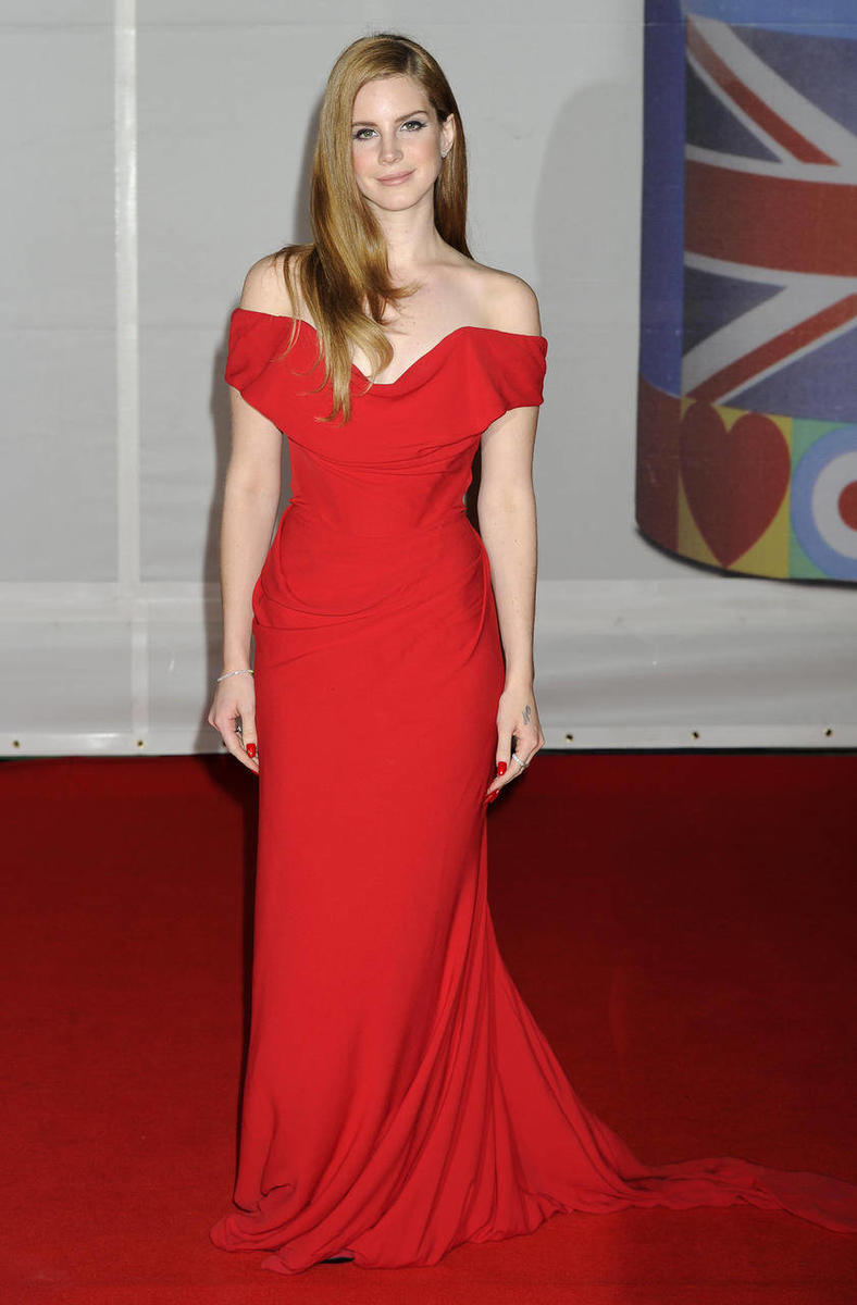 Elizabeth Grant, also known as Lana Del Rey, arrives for the Brit Awards 2012 at the O2 Arena in London, Tuesday, Feb. 21, 2012.