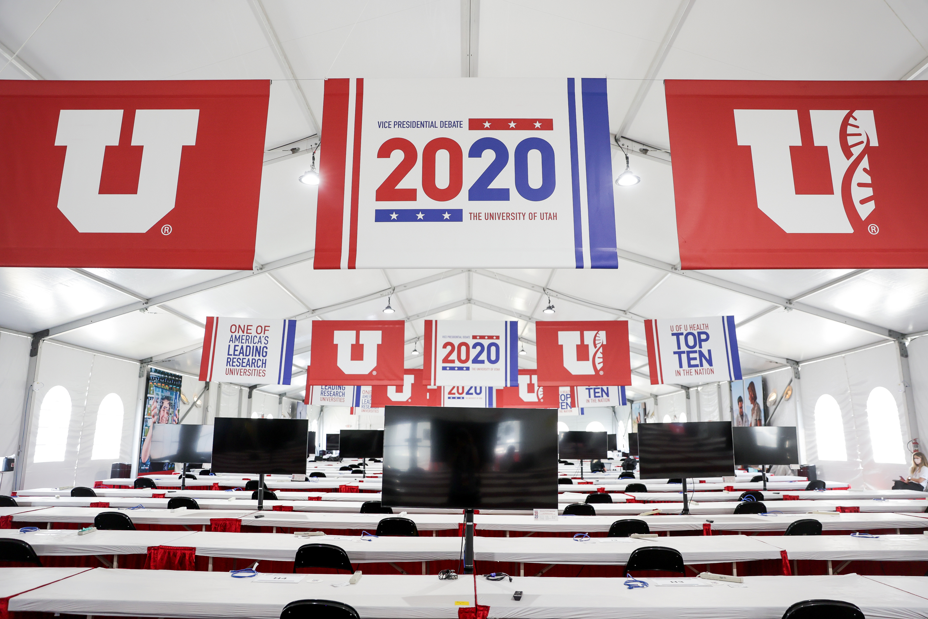 A sprawling media tent outside of Kingsbury Hall at the University of Utah in Salt Lake City is pictured on Tuesday, Oct. 6, 2020, in preparation for Wednesday's vice presidential debate.