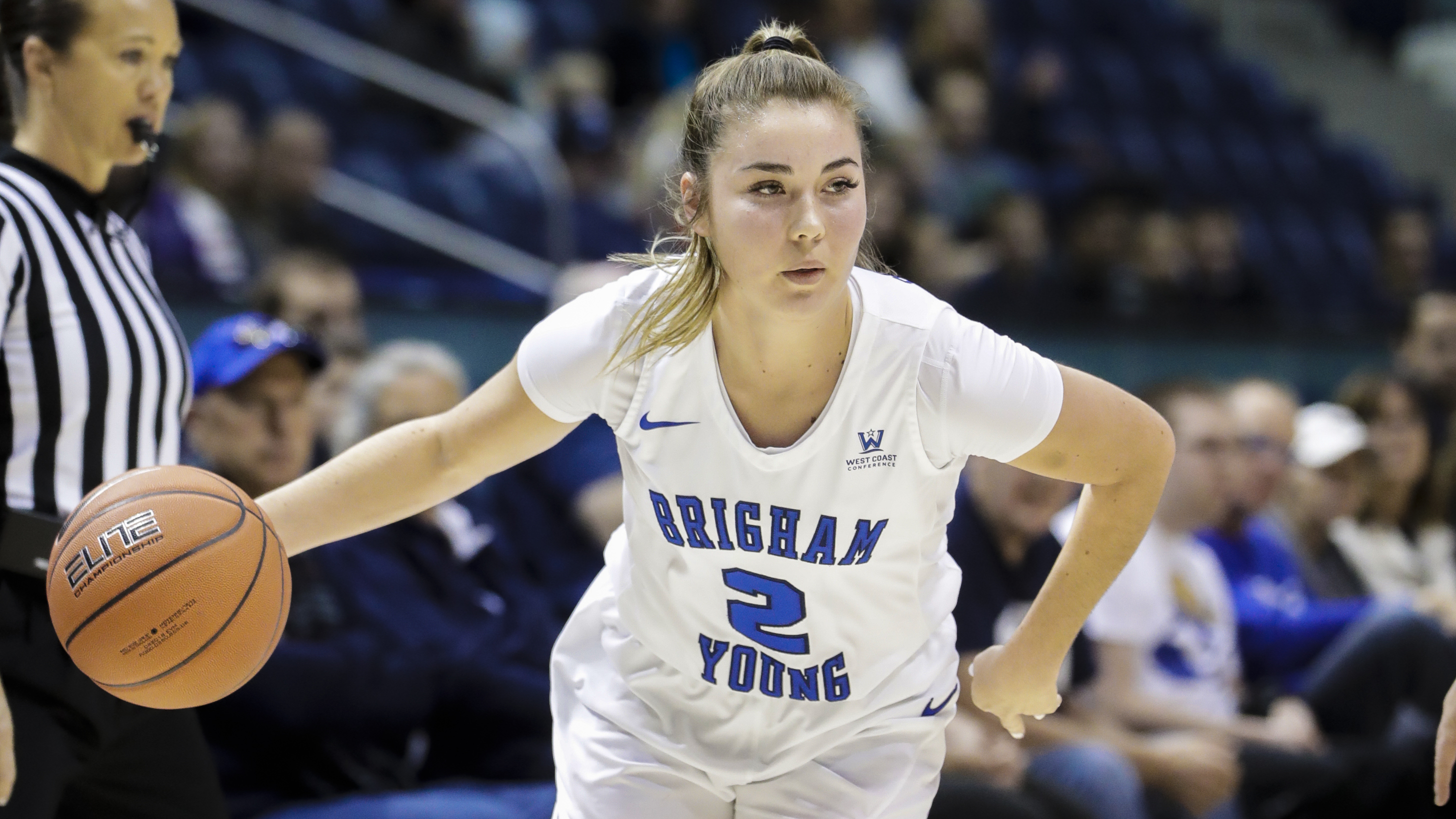 20181117 Shaylee Gonzales drives to the hoop. She had a game and career-high 20 points against the Aggies.