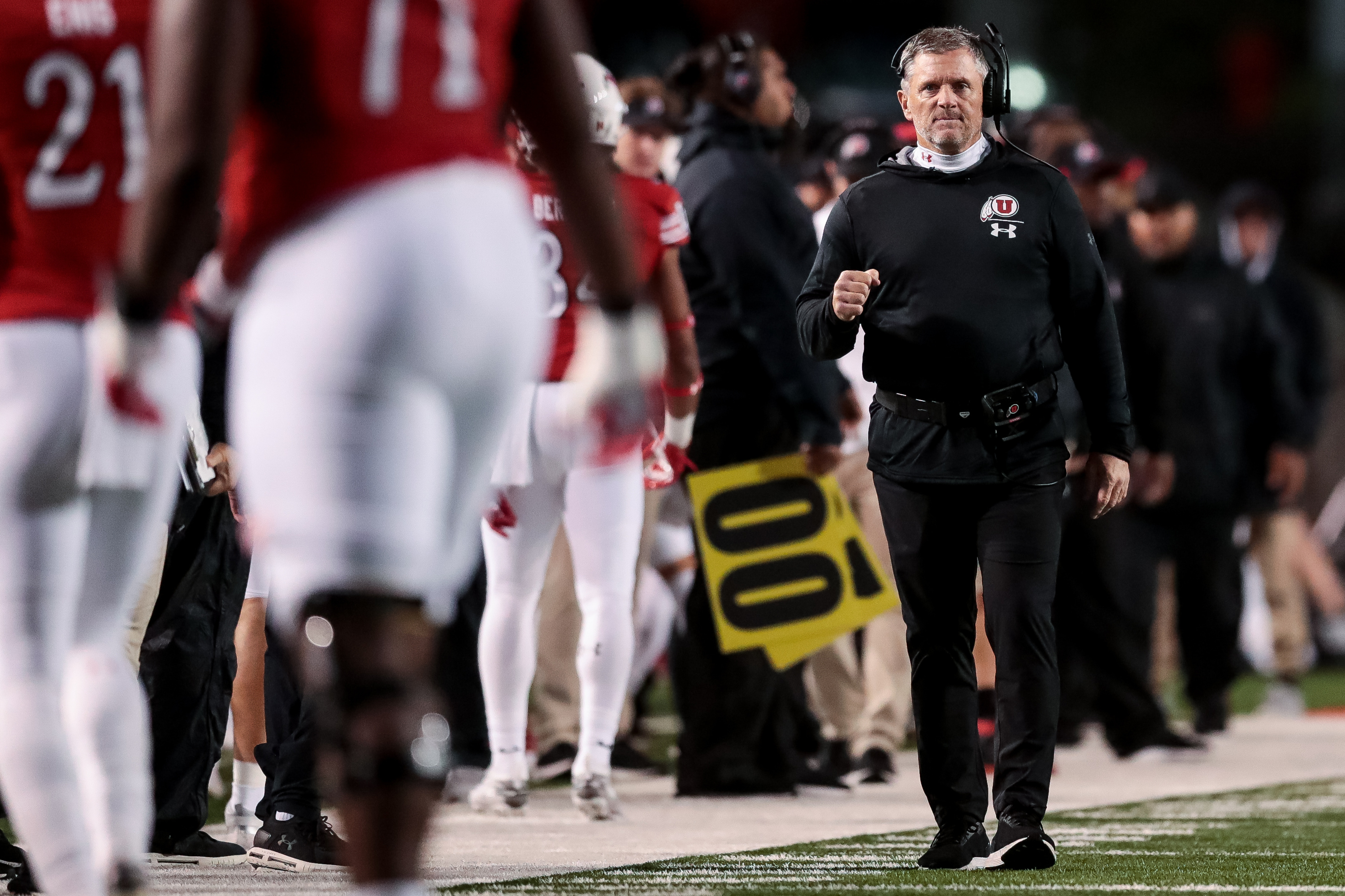 Utah Utes head coach Kyle Whittingham pumps his fist after wide receiver Derrick Vickers (8) scored on a 7-yard run, putting the Utes up 31-13 over the Washington State Cougars after the PAT, at Rice-Eccles Stadium in Salt Lake City on Saturday, Sept. 28, 2019.