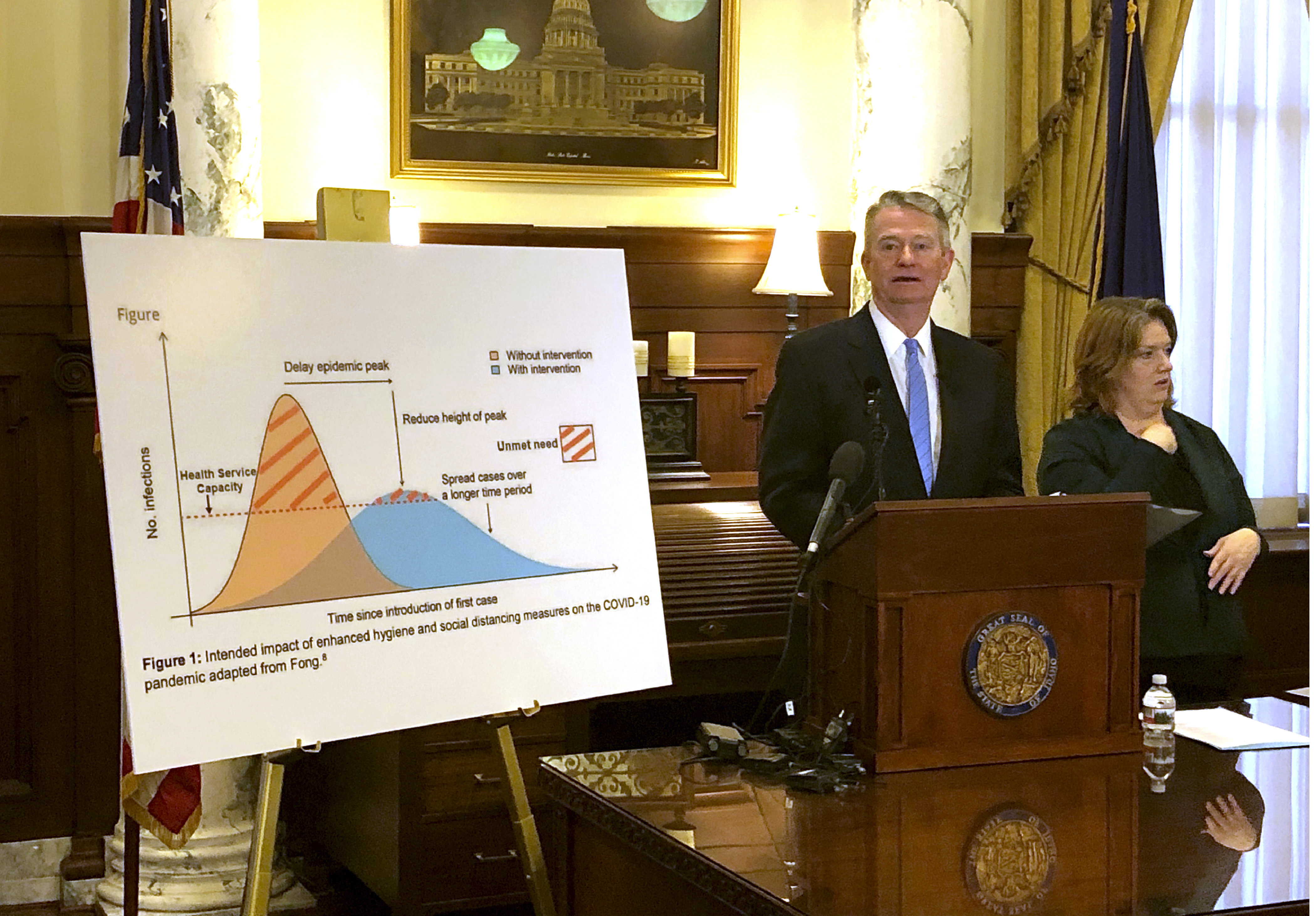 Idaho Gov. Brad Little proclaims a state of emergency in Idaho as a proactive step to prevent the spread of coronavirus, Friday, March 13, 2020, at his Statehouse office in Boise, Idaho. State officials say more than 100 people in Idaho have so far been tested, but no one has been positive for COVID-19, the illness caused by the new coronavirus.