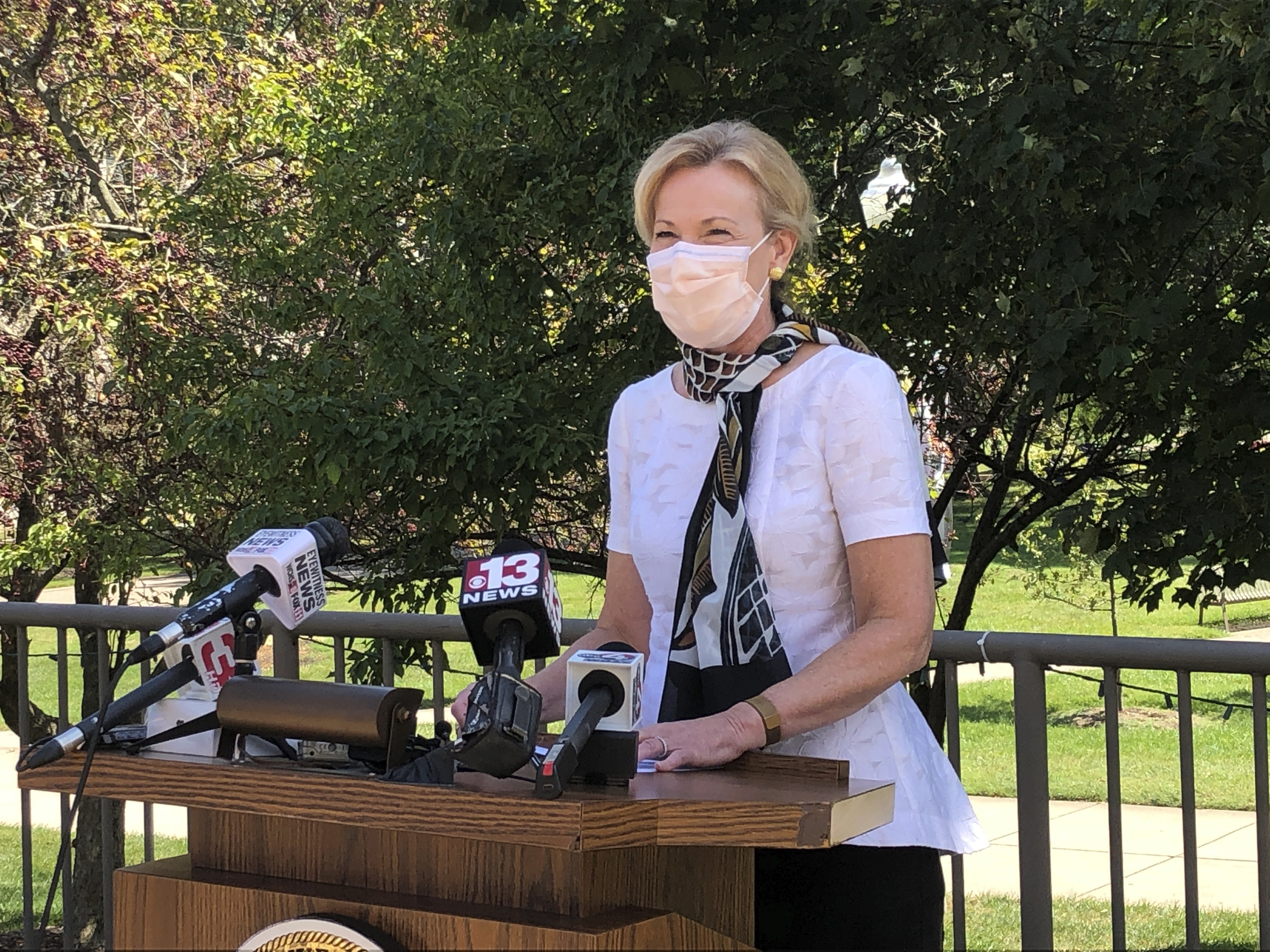 Dr. Deborah Birx, President Donald Trump's top coronavirus adviser, speaks at a news conference at the state Capitol Complex, Wednesday, Aug. 19, 2020, in Charleston, W.Va.