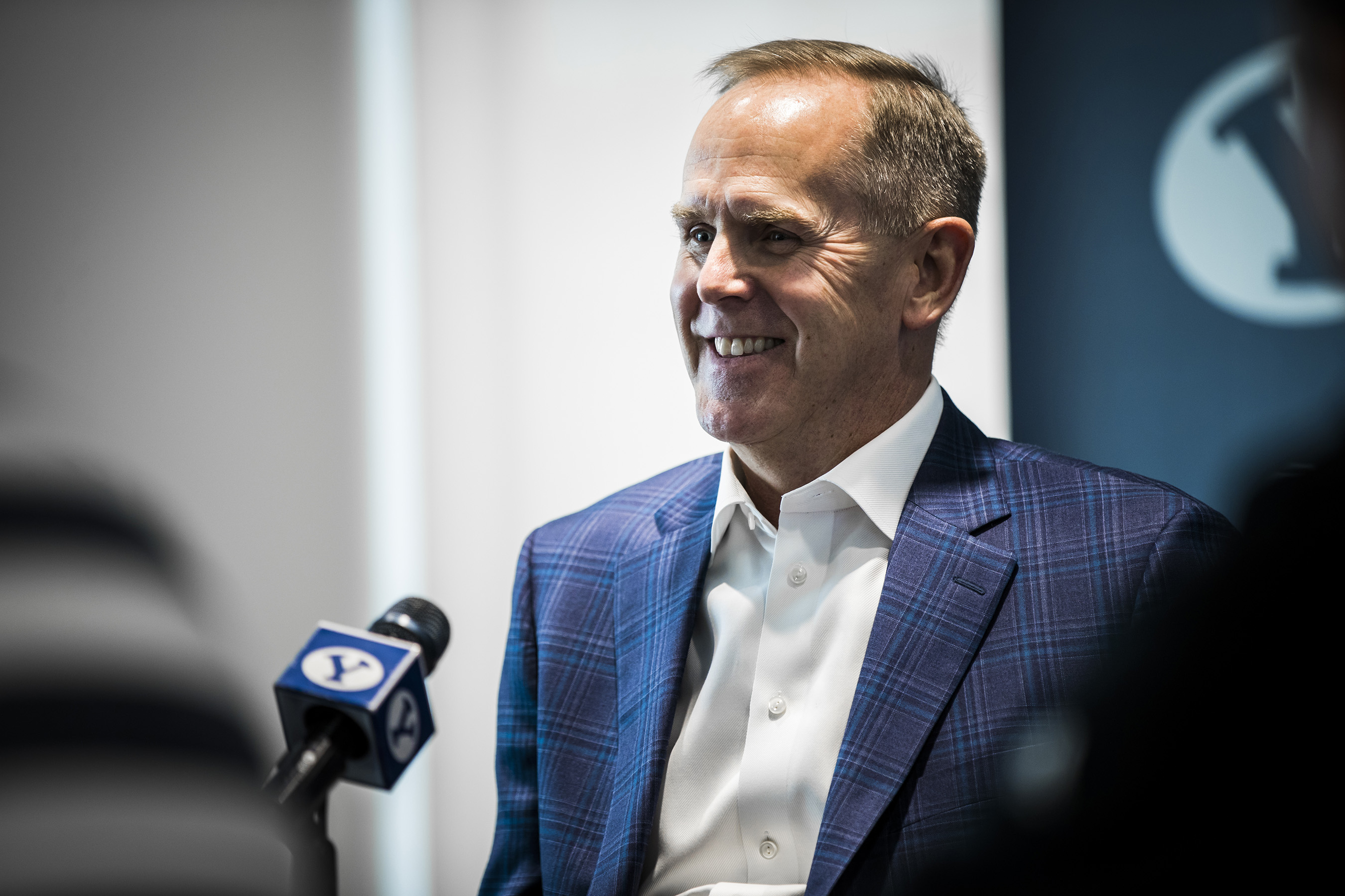 BYU athletic director Tom Holmoe meets with reporters for his semiannual media Q&A roundtable in Provo on Wednesday, Jan. 24, 2018. Last week, Holmoe held a virtual roundtable via Zoom to field reporters questions.
