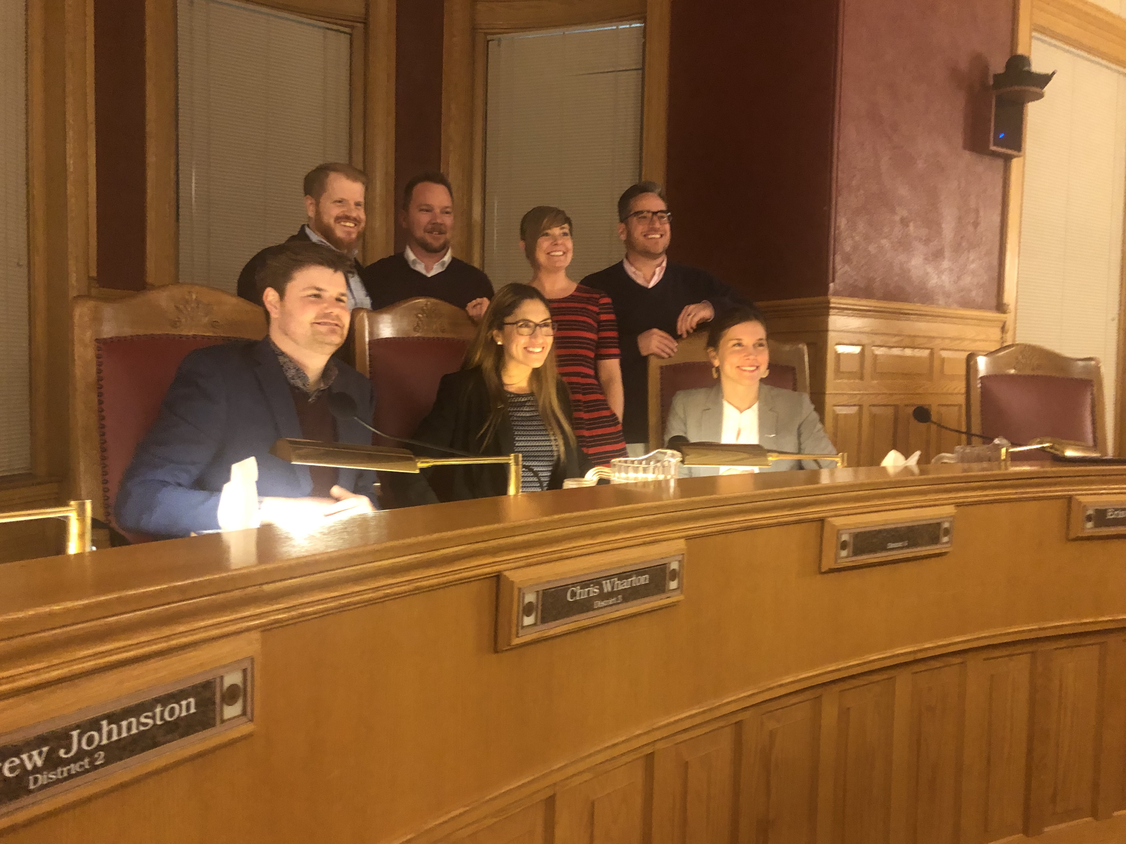 20190123 Analia Valdemoros poses for a picture with the Salt Lake City Council on Tuesday, Jan. 22, 2019. The City Council unanimously voted to chose Valdemoros out of 20 candidates vying to replace now state Sen. Derek Kitchen.
