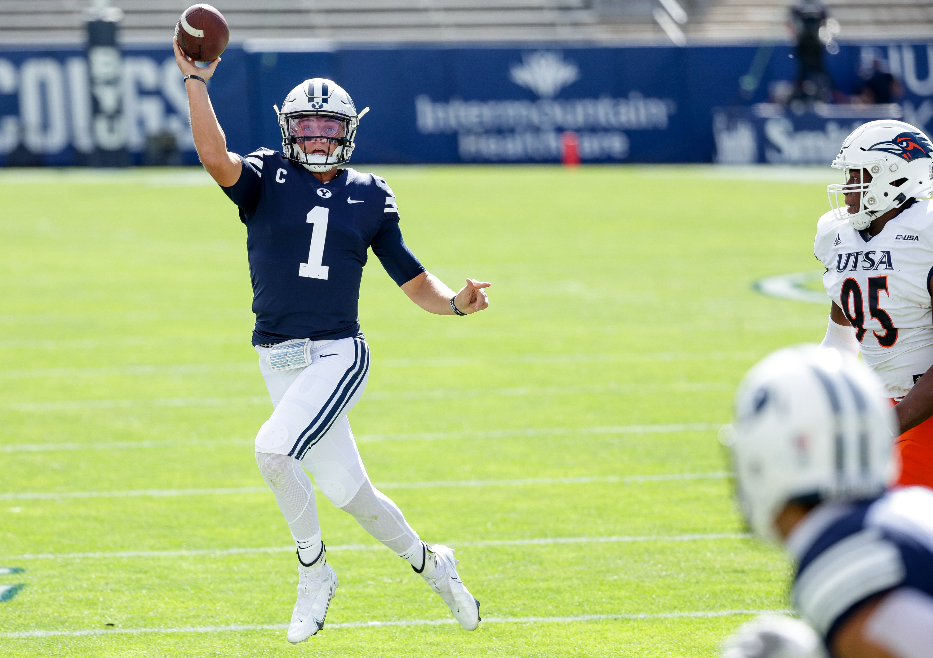 Brigham Young Cougars quarterback Zach Wilson (1) passes during the game against the UTSA Roadrunners at LaVell Edwards Stadium in Provo on Saturday, Oct. 10, 2020.