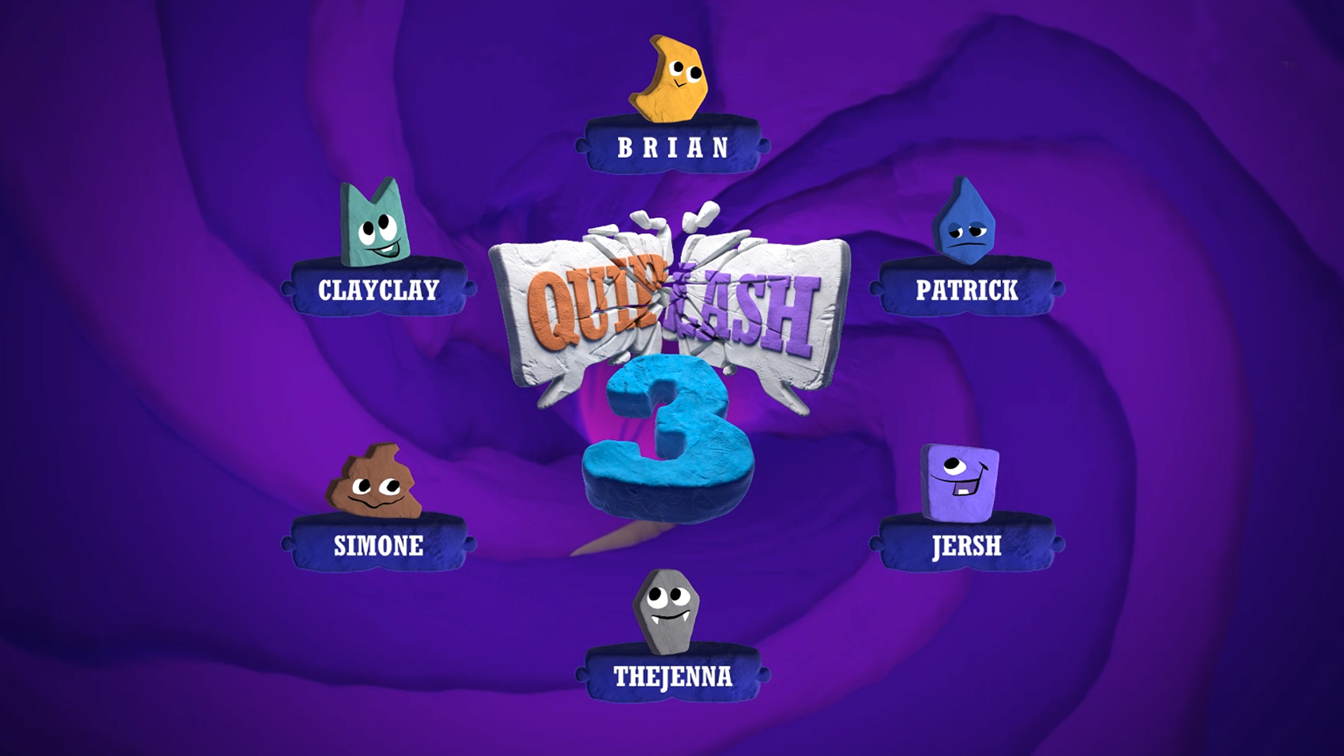 A loading screen from Quiplash 3 with six cute characters, each with a name underneath: Brian, Patrick, Jersh, The Jenna, Simone, and Clay Clay.