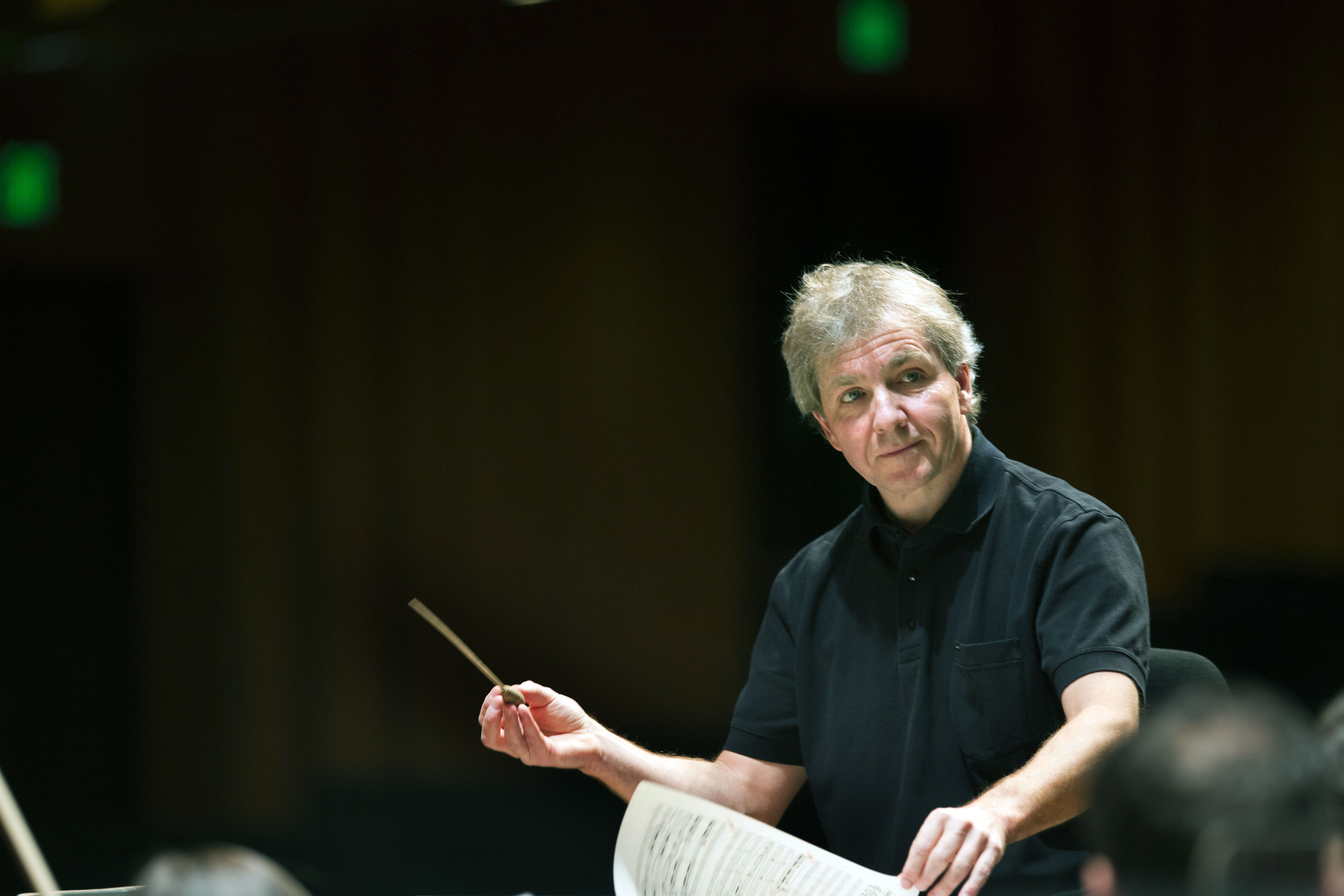 Thierry Fischer, music director of the Utah Symphony Orchestra, conducts a practice at Abravanel Hall in Salt Lake City on Wednesday, Nov. 20, 2013. Fischer will be stepping down as music director following the 2021-22 season.