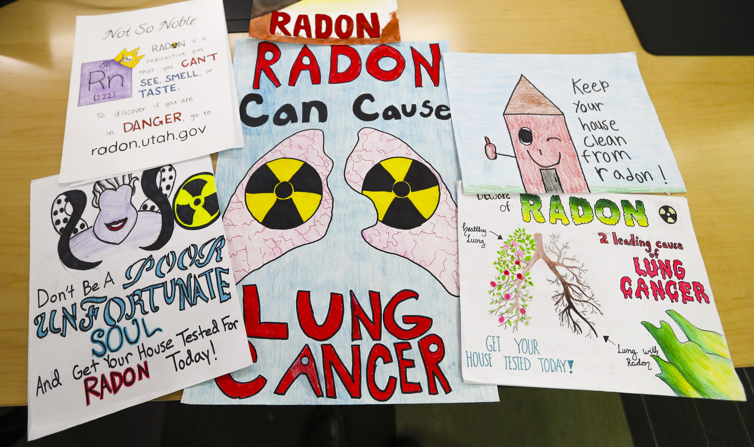 Winners in the 2020 state radon poster contest at the Utah Department of Environmental Quality offices in Salt Lake City on Monday, Dec. 16, 2019.