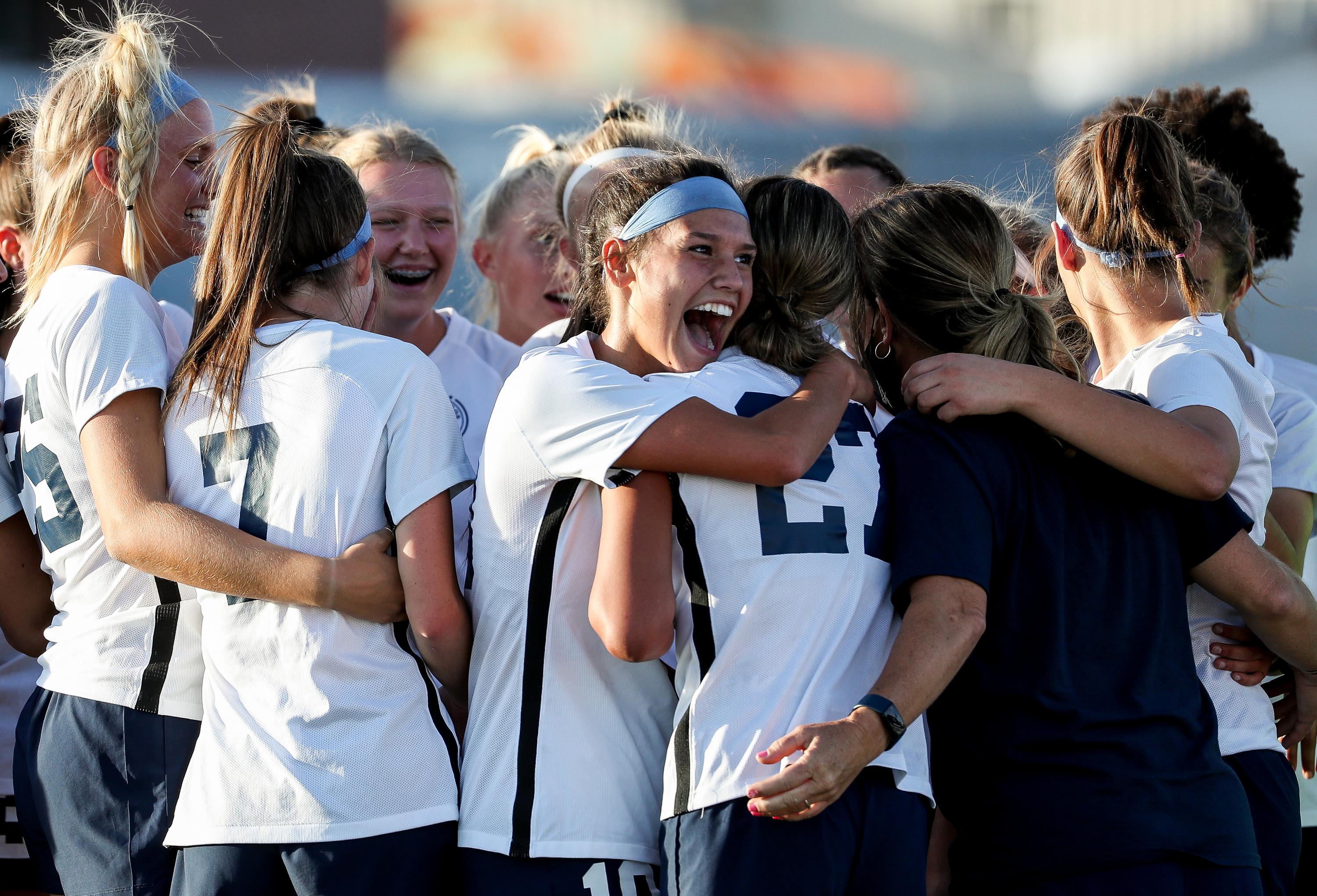 Timpanogos' Kendall Maynard smiles after her team's win over Lehi in a 5A girls soccer game in Lehi on Tuesday, Oct. 13, 2020.