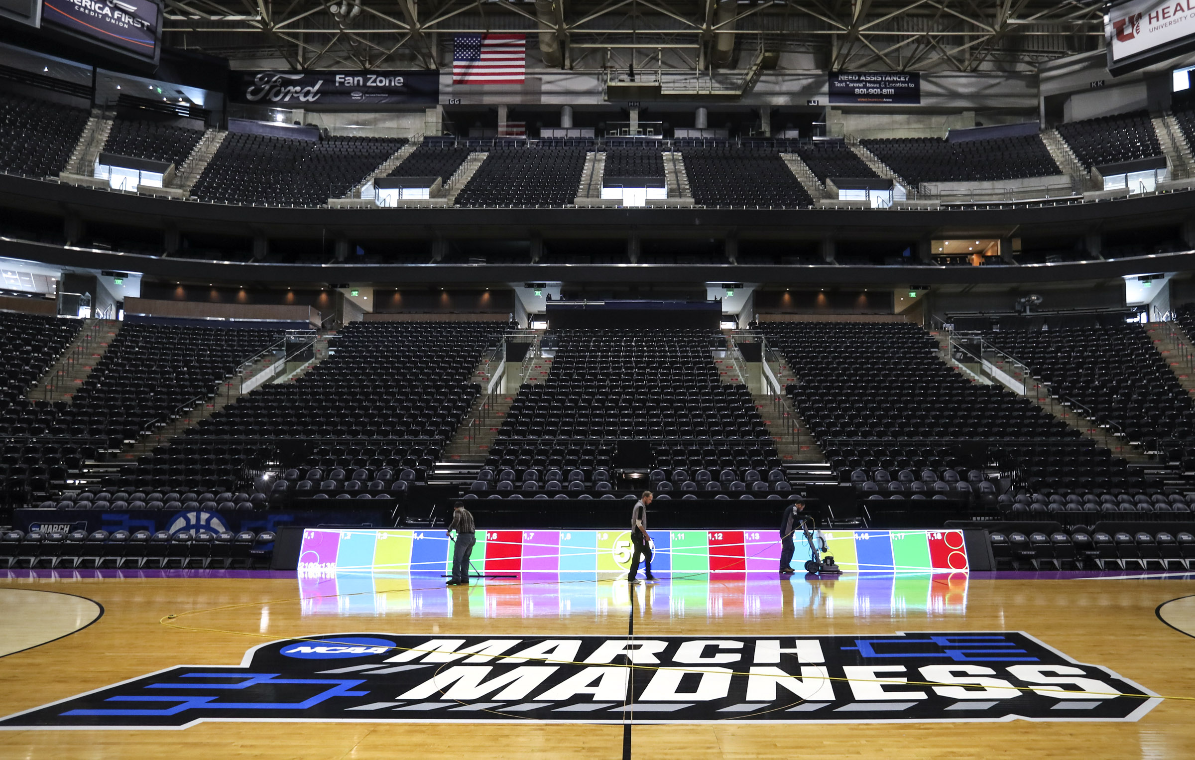 An NCAA March Madness basketball court is installed in Vivint Smart Home Arena in Salt Lake City on Monday, March 18, 2019. The Arena will host the first round of the tournament this weekend.