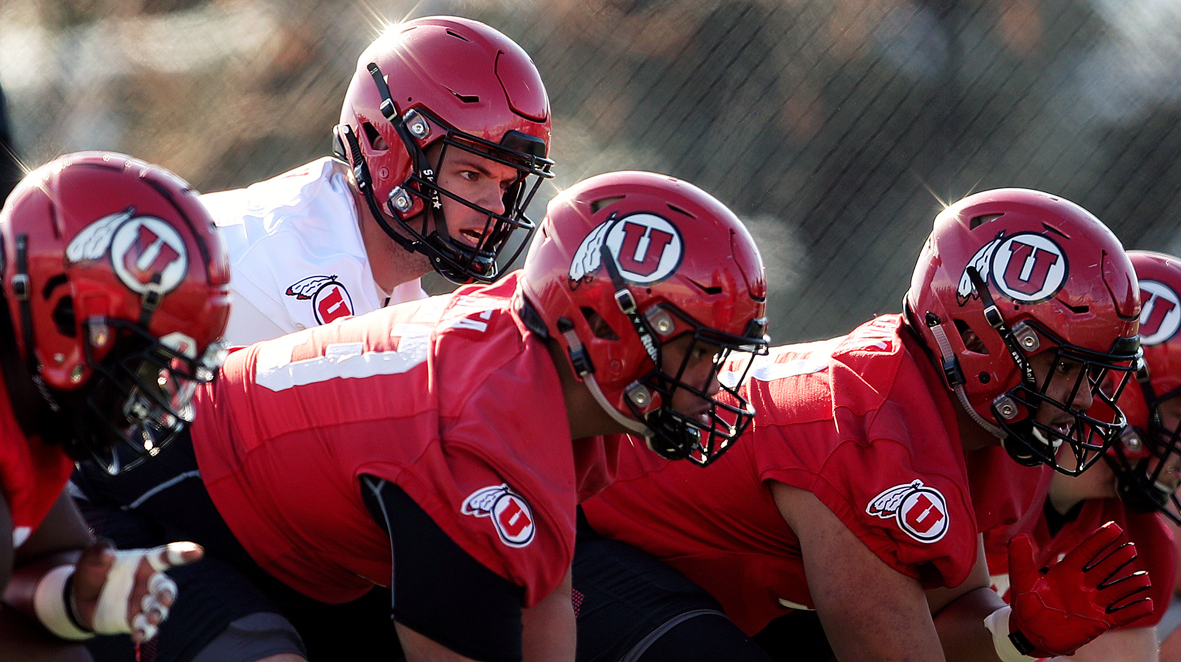 Quarterback Jake Bentley calls signals during a drill as the University of Utah football team opens spring camp at the Eccles Football Facility practice fields in Salt Lake City on Monday, March 2, 2020.