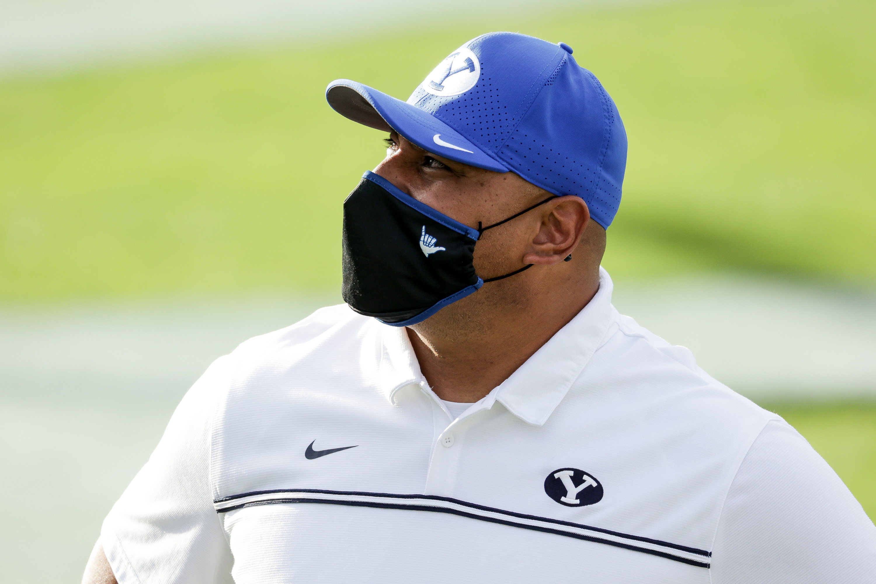 Brigham Young Cougars head coach Kalani Sitake comes off the field after his team's 27-20 win over the UTSA Roadrunners at LaVell Edwards Stadium in Provo on Saturday, Oct. 10, 2020.