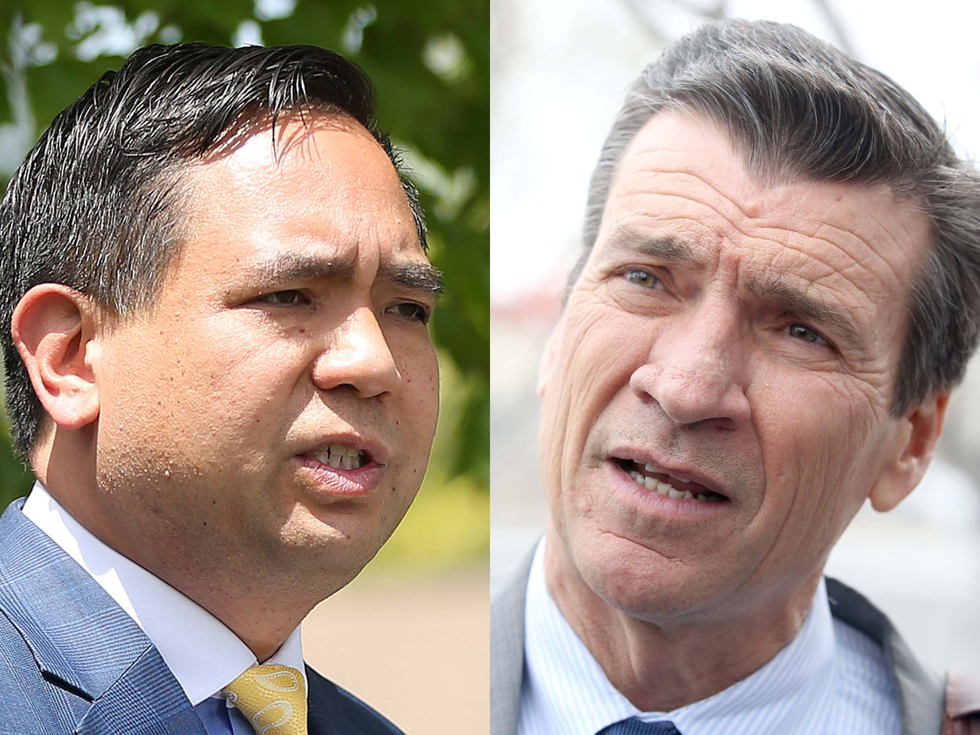Incumbent Republican Attorney General Sean Reyes, left, and Democrat Greg Skordas, right, are pictured in this composite photo.