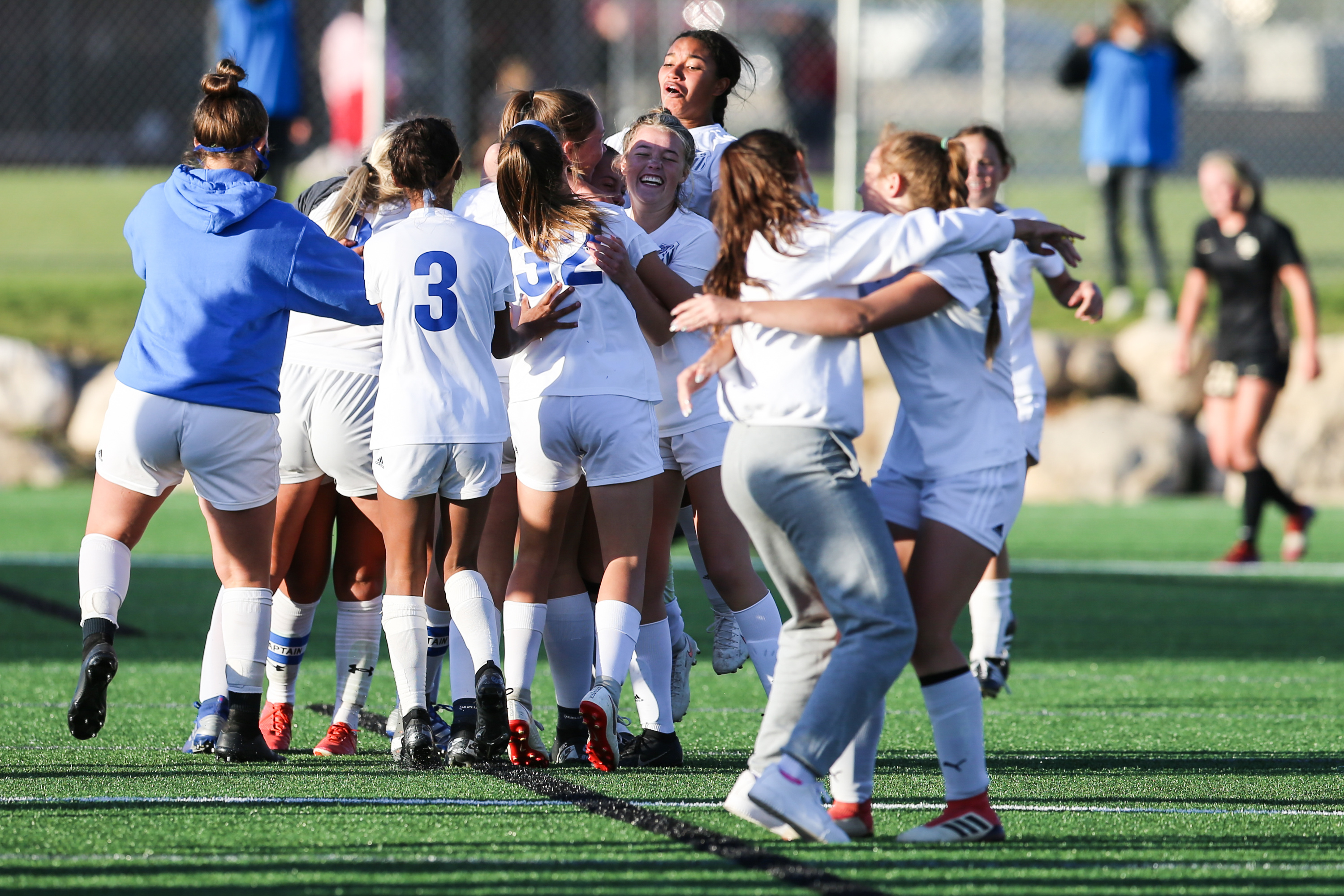 Fremont players celebrate together after winning a 6A high school girls soccer quarterfinal against Lone Peak at Lone Peak High School in Highland on Thursday, Oct. 15, 2020.