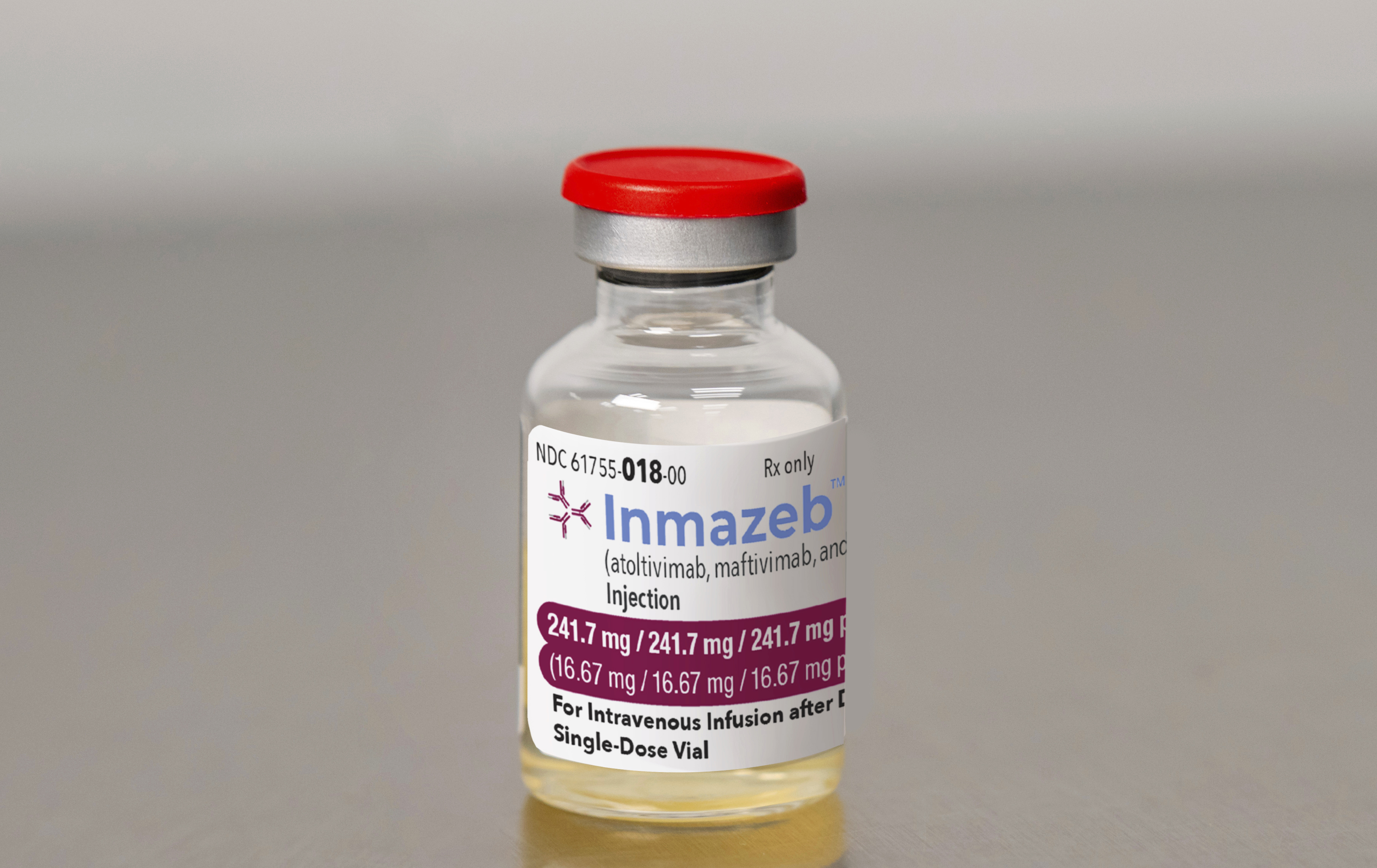 This image provided by Regeneron on Wednesday, Oct. 14, 2020, shows a vial of the company's Inmazeb medication. On Wednesday, the U.S. Food and Drug Administration said it has approved the drug for treating Ebola in both adults and children.