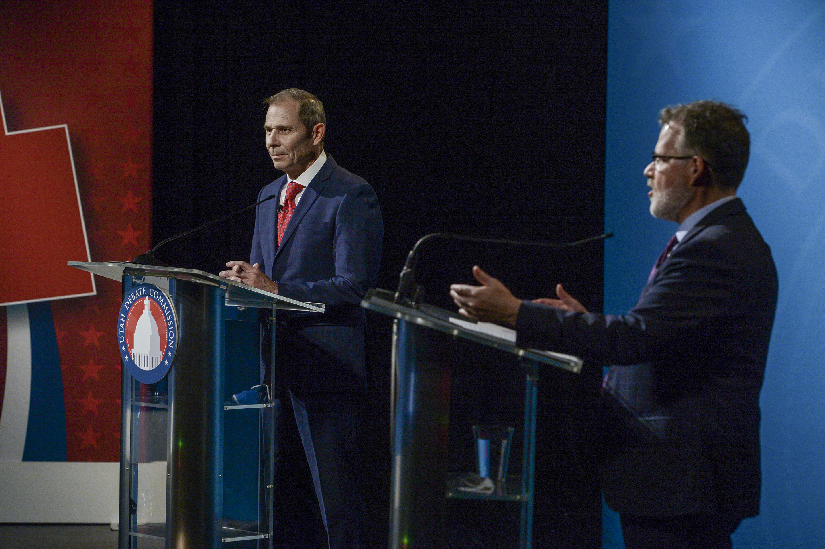 Utah's 3rd Congressional District candidates Rep. John Curtis, R-Utah, and Democrat Devin Thorpe participate in a debate at the Triad Center in Salt Lake City, Oct. 15, 2020.