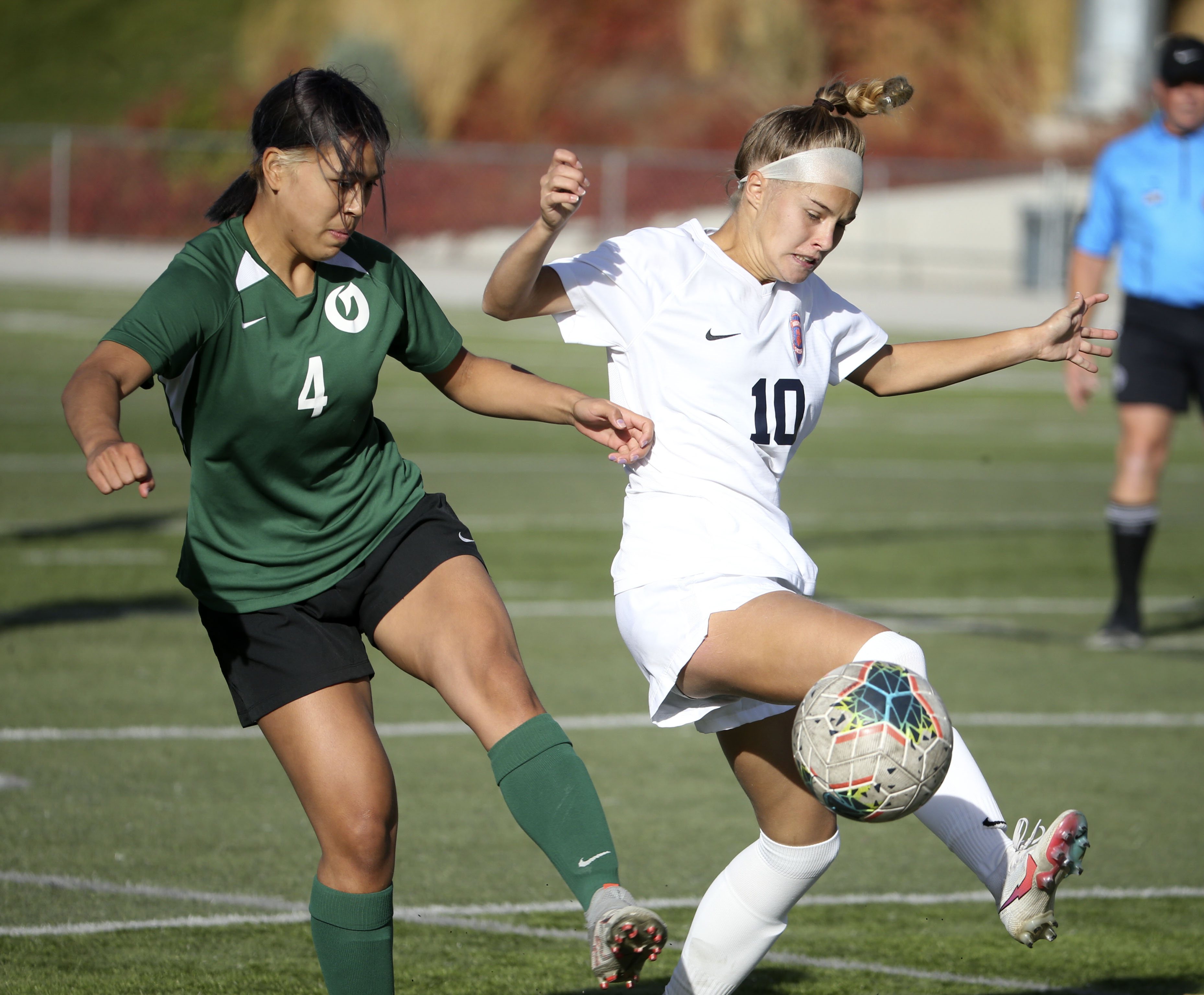 Brighton and Olympus compete in the 5A high school girls soccer quarterfinals in Holladay on Thursday, Oct. 15, 2020.