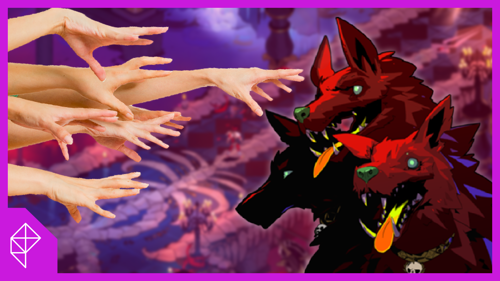 A cluster of hands reaching out to pet Cerberus, from the game Hades
