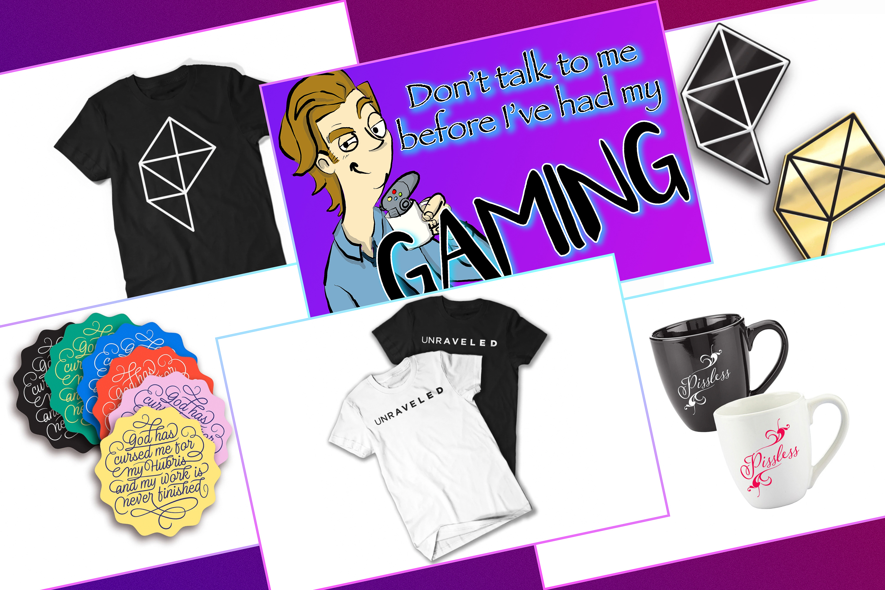 Graphic featuring six products from the Polygon merch store
