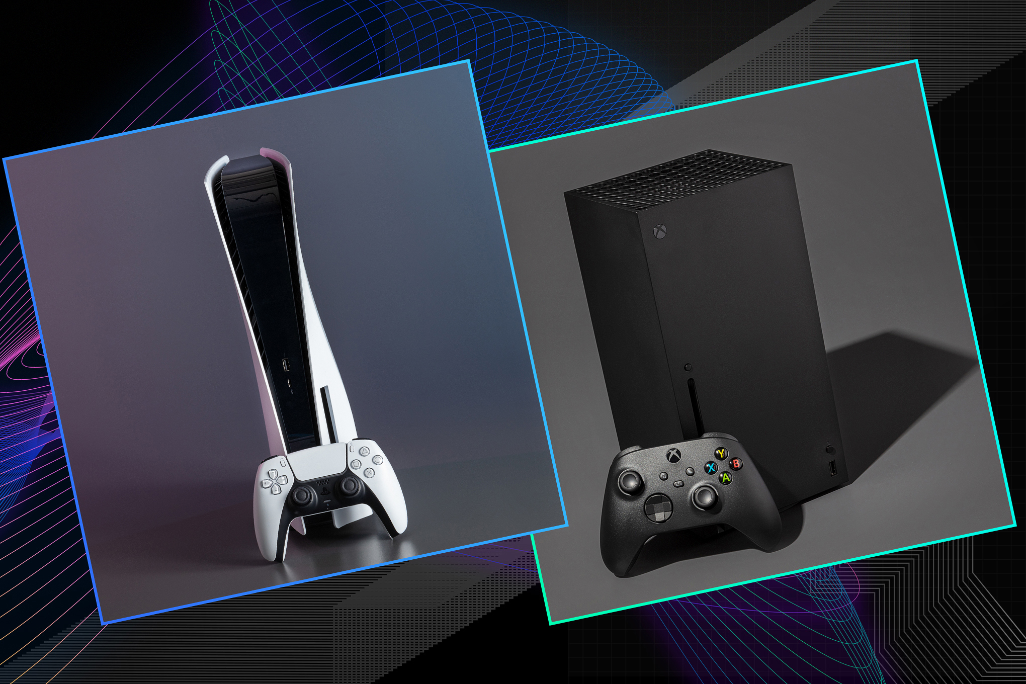 Graphic featuring the PS5 and Xbox Series X consoles