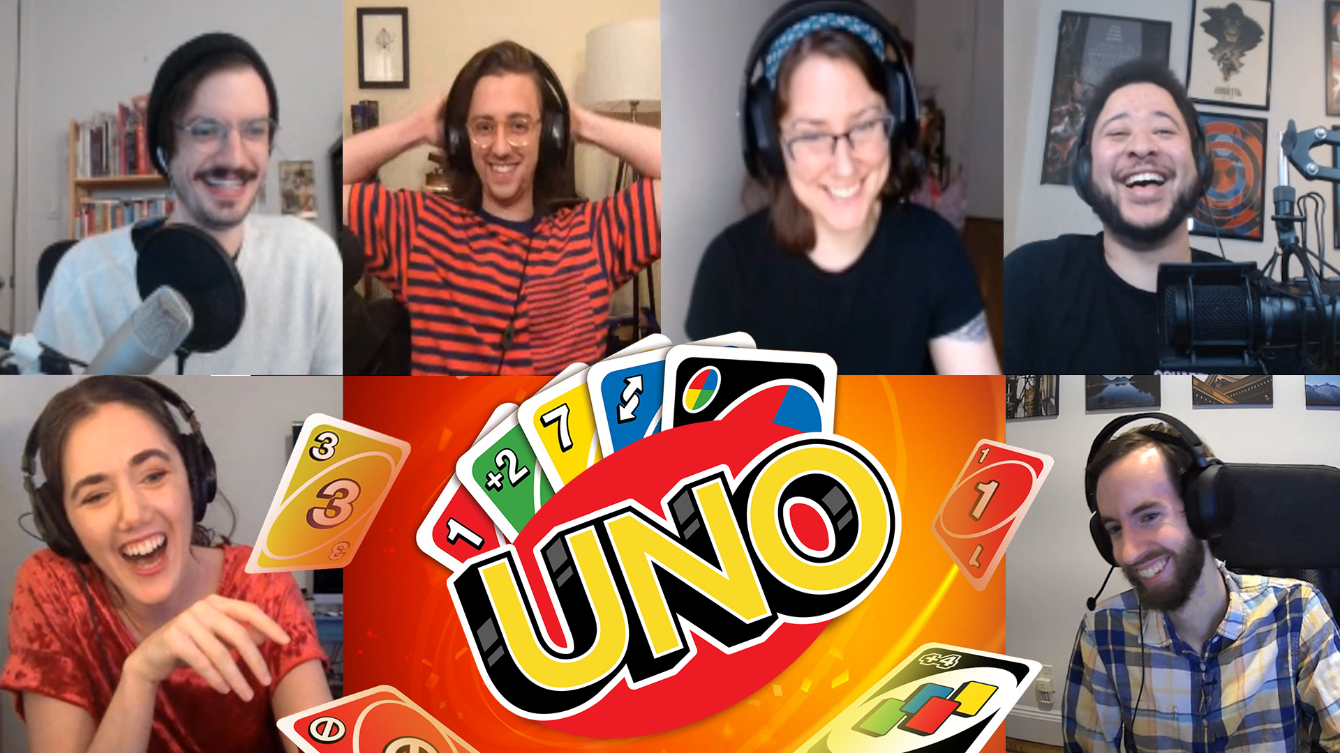 Six excited people in video chat surround a logo for the card game UNO.