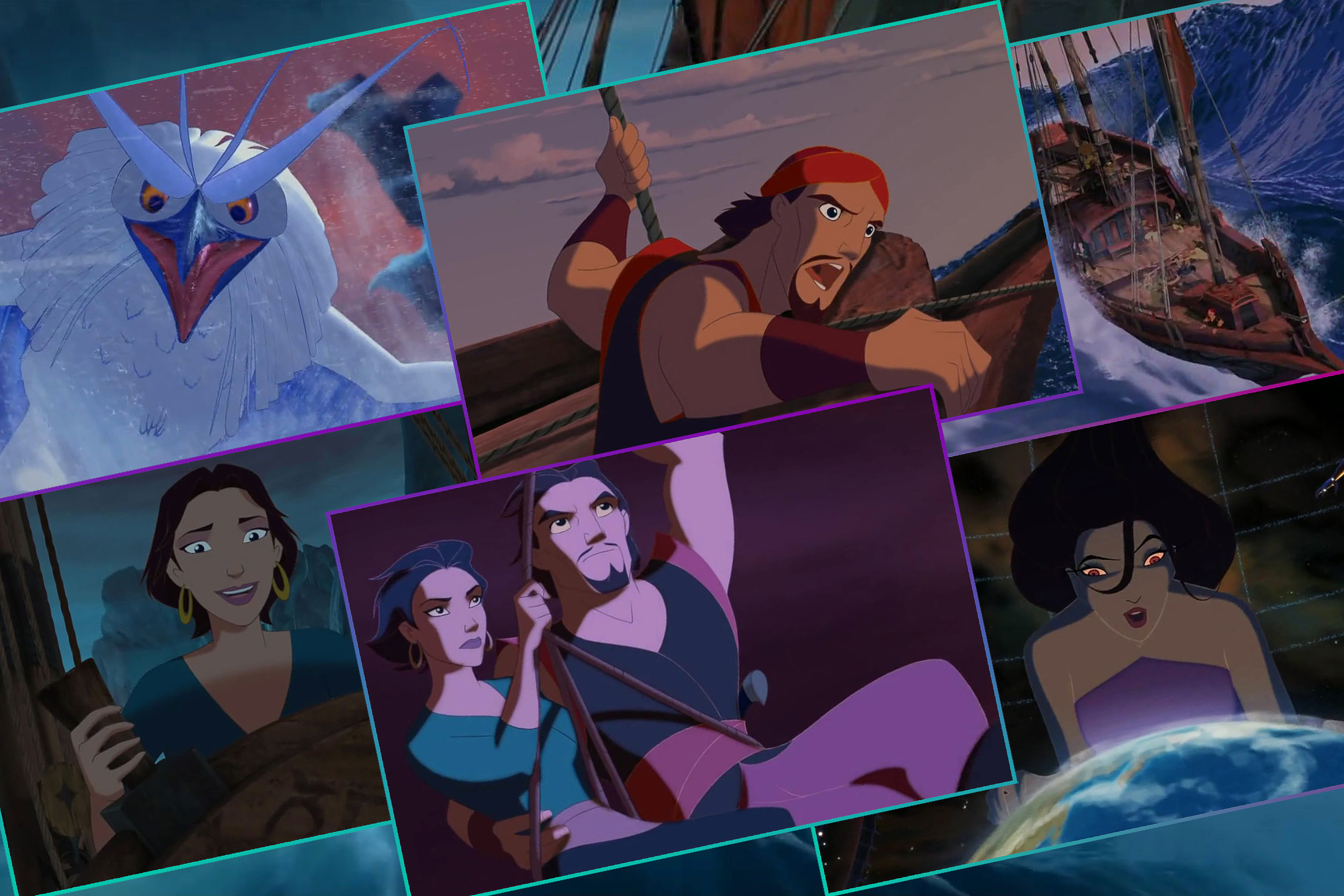 Graphic with six different images from the Sinbad animated movie