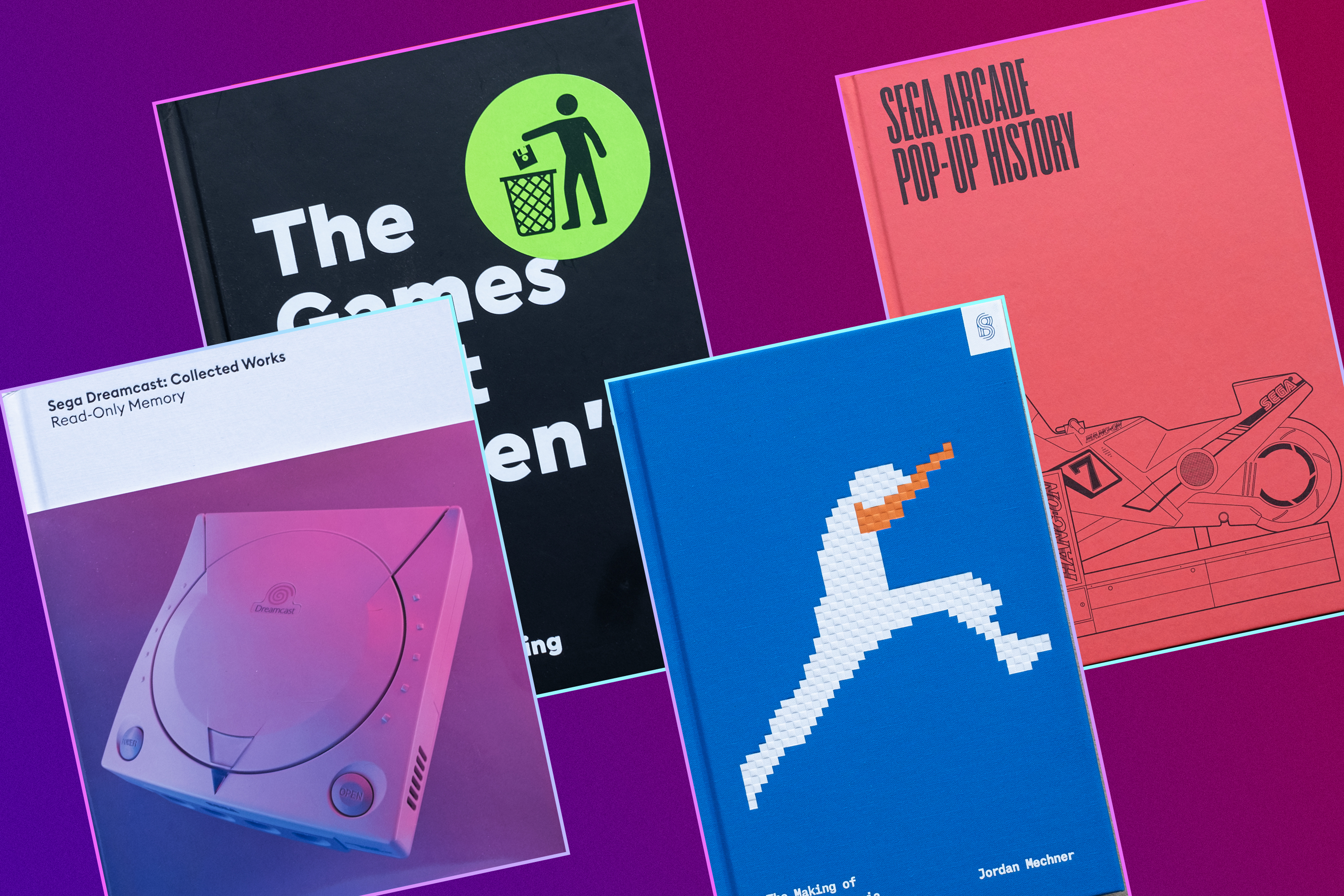 Graphic grid featuring four different book covers