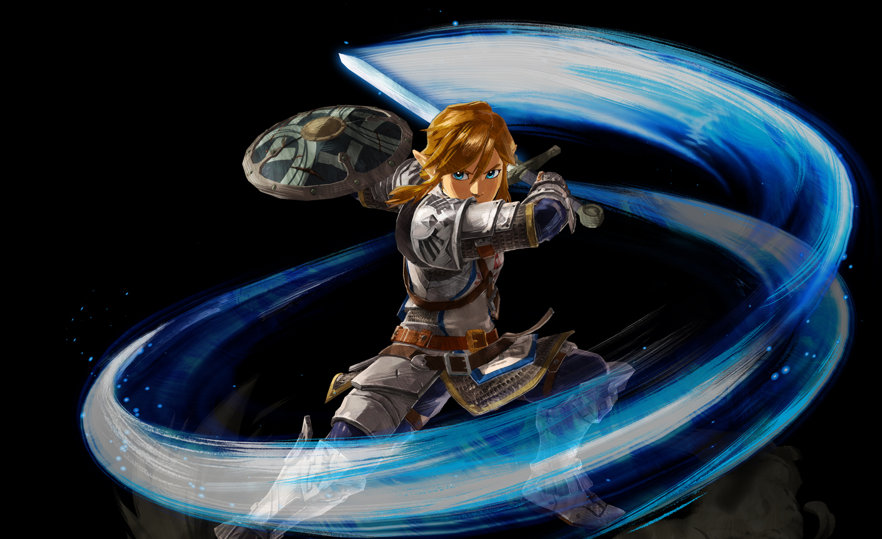 Link swings a sword in Age of Calamity.