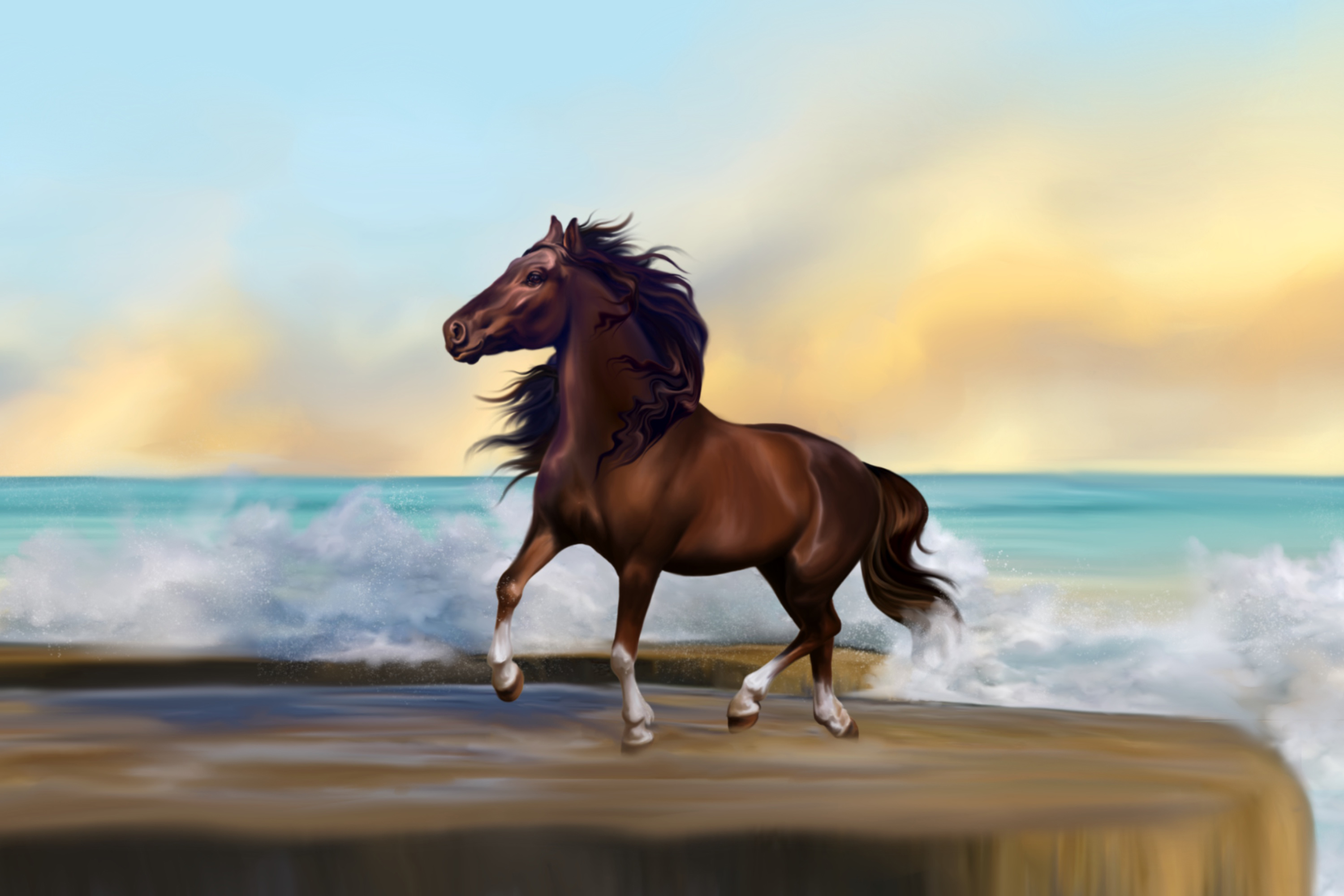 Painting of a dark brown horse on a beach with surging surf
