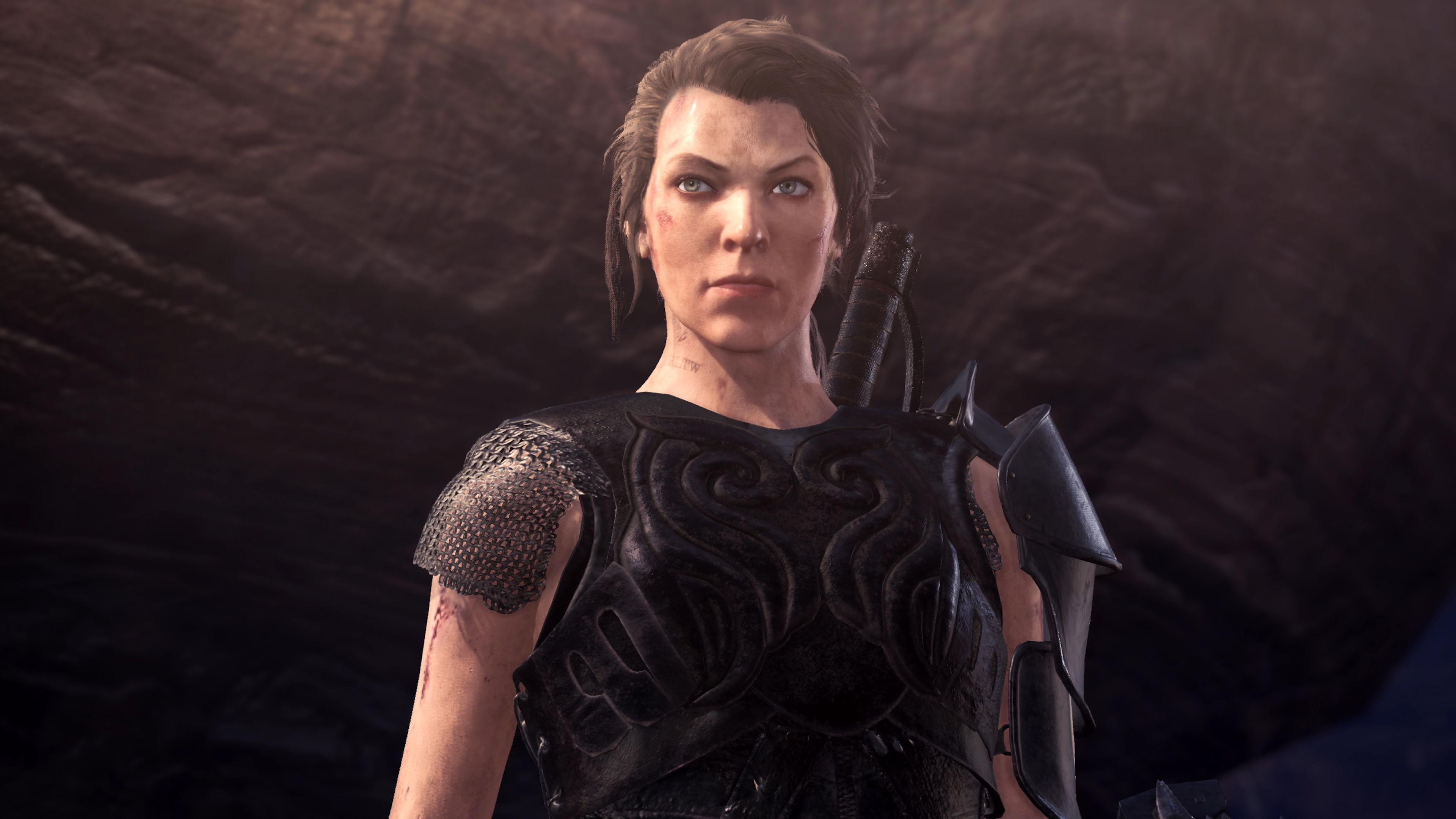 Milla Jovovich's character Artemis as she appears in Monster Hunter World: Iceborne.