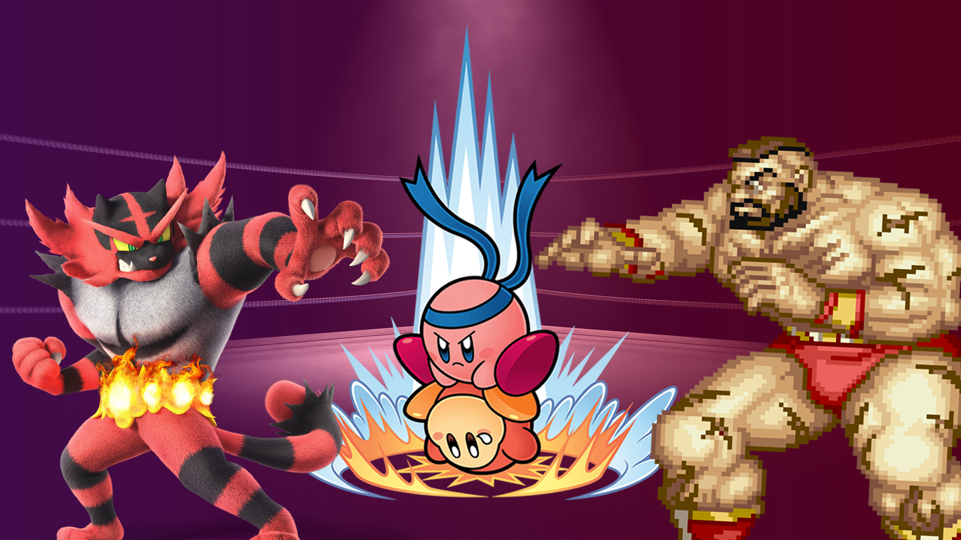 Kirby Suplexes a waddle dee while Zangief and Incineroar watch encouragingly.