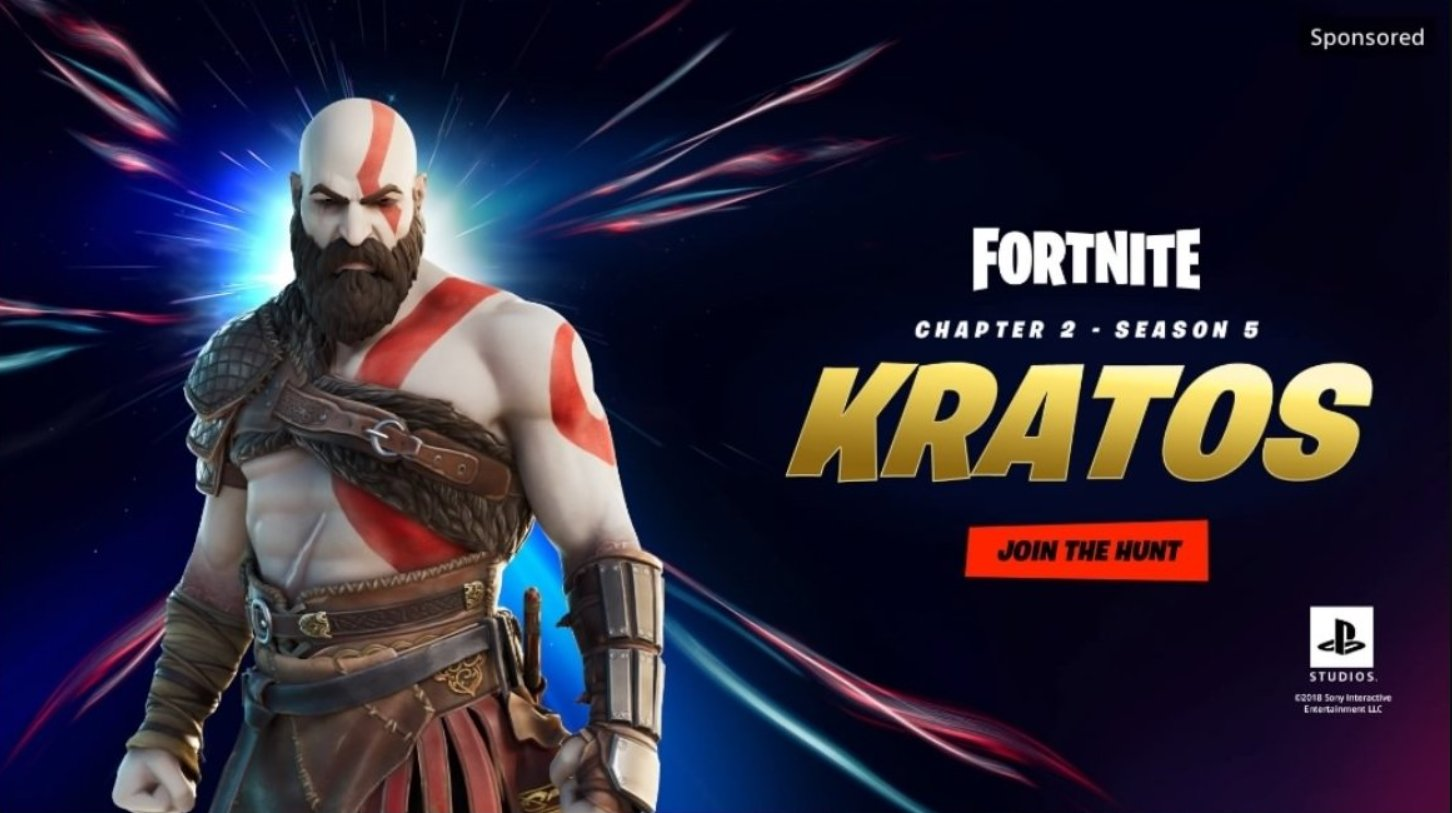 promotional card showing Kratos, from God of War, as he will appear in Fortnite
