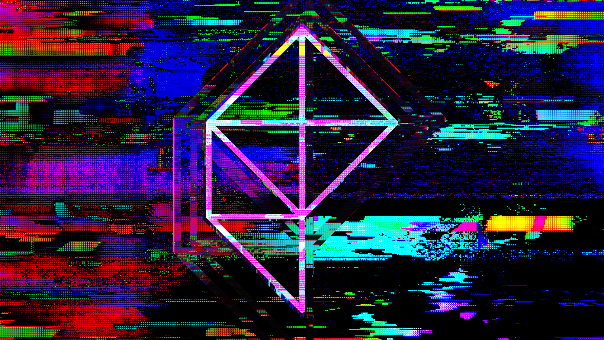 A wireframe Polygon logo surrounded by glitch effects.