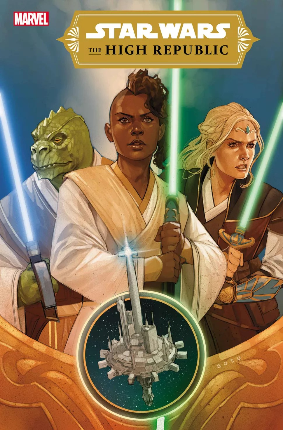 Three Jedi stand with lightsabers raised on the cover of Star Wars: The High Republic #1, Marvel Comics (2021).