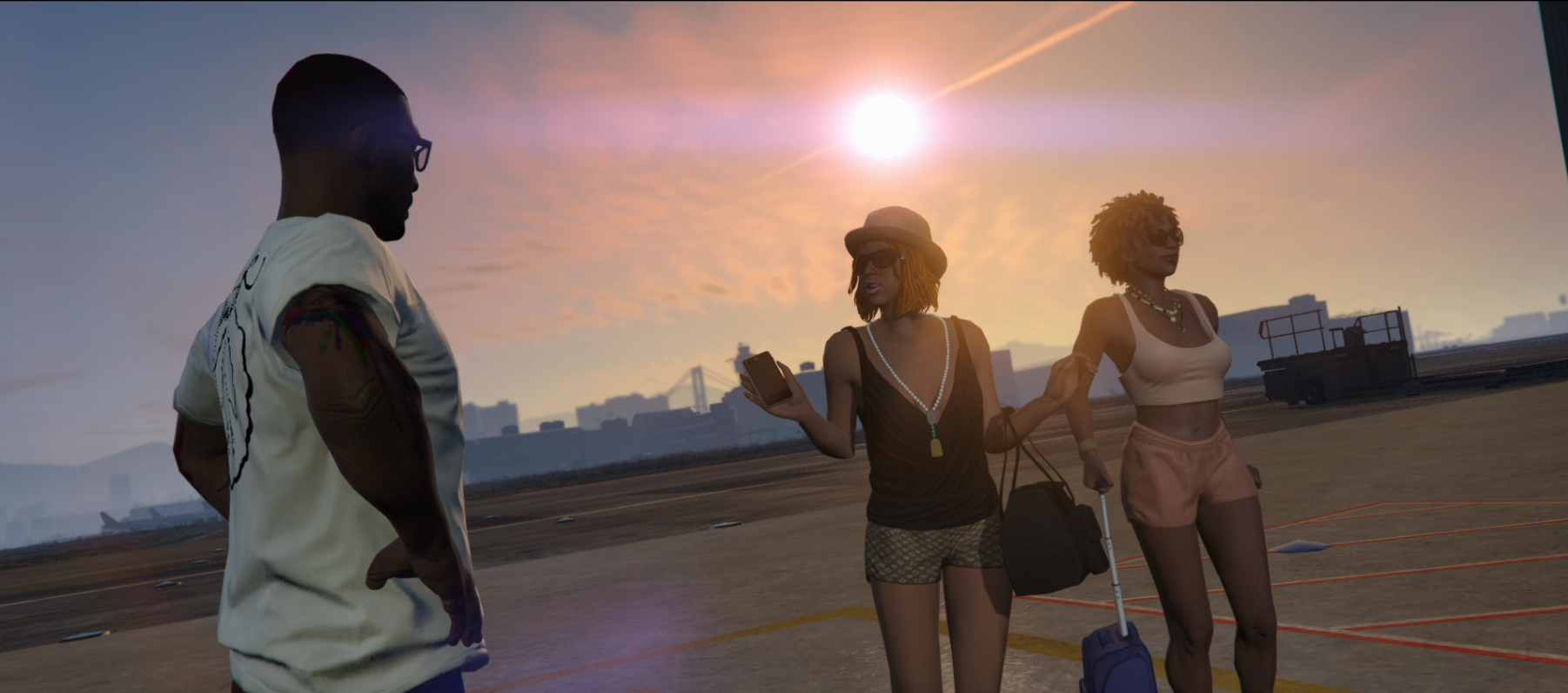 Grand Theft Auto Online - Two socialites go to board a plane in Los Santos
