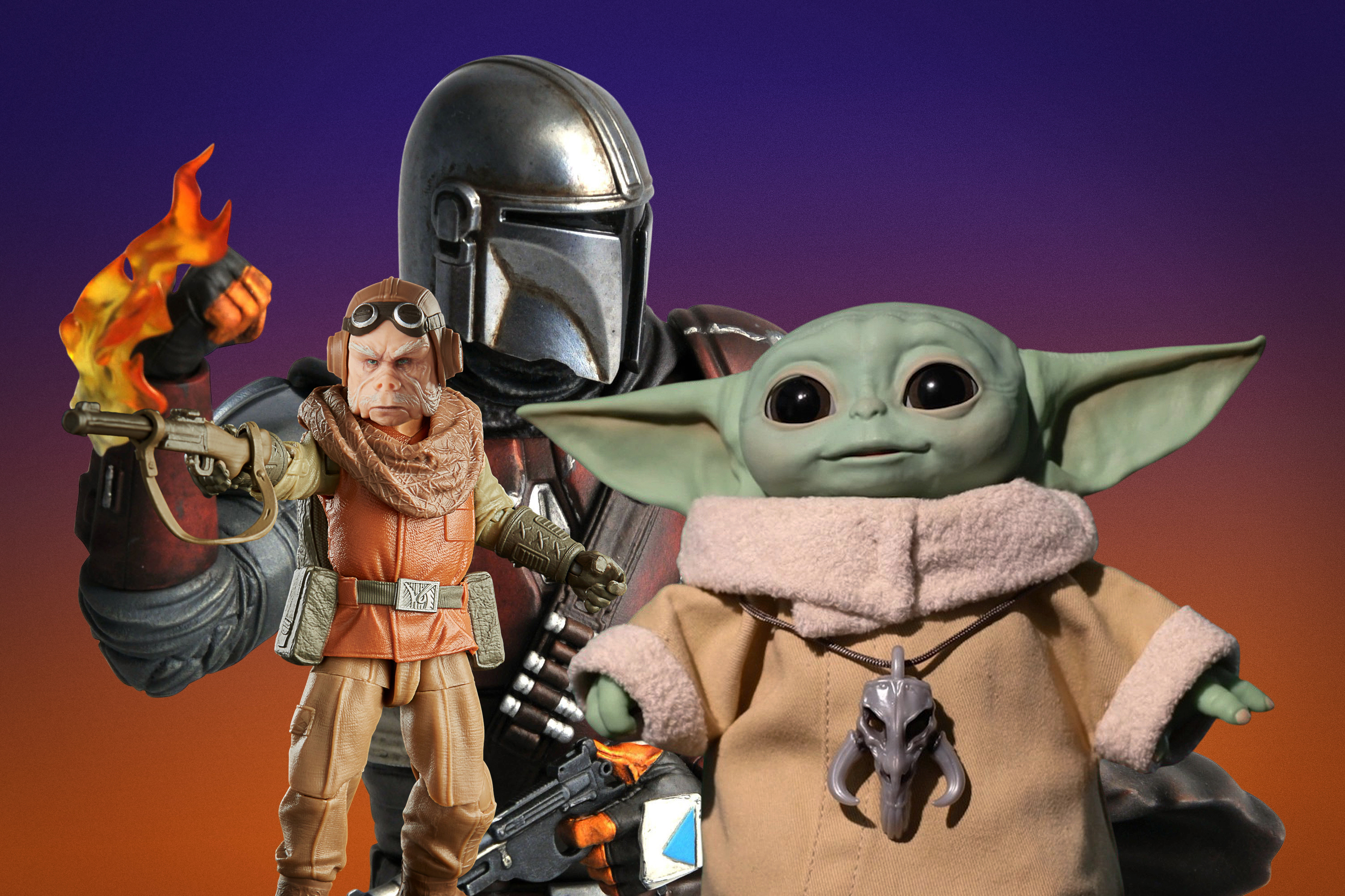 """Photo collage of of toys from the Star Wars series, """"The Mandalorian"""""""