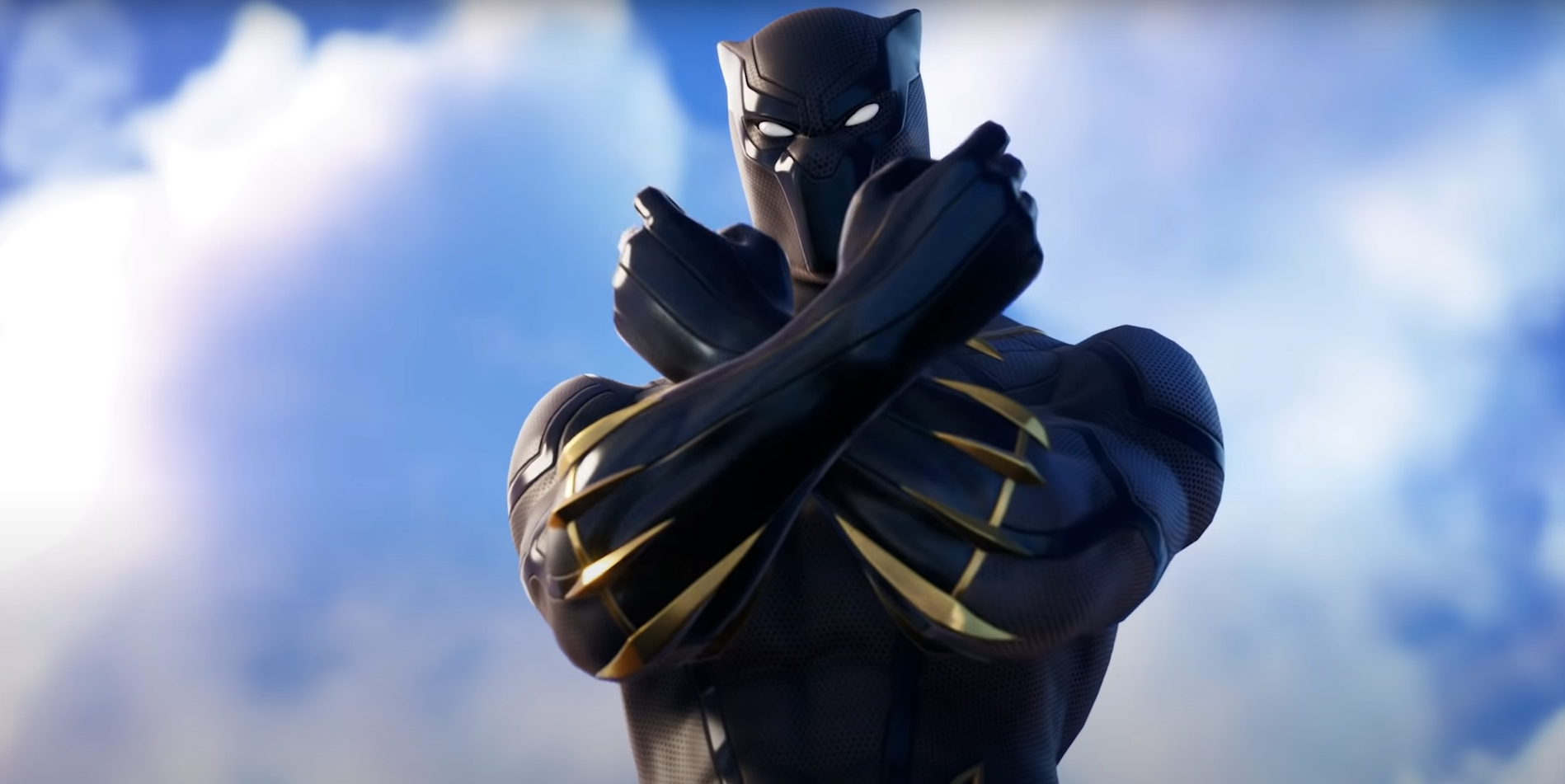 Black Panther in Fortnite using the Wakanda Forever emote
