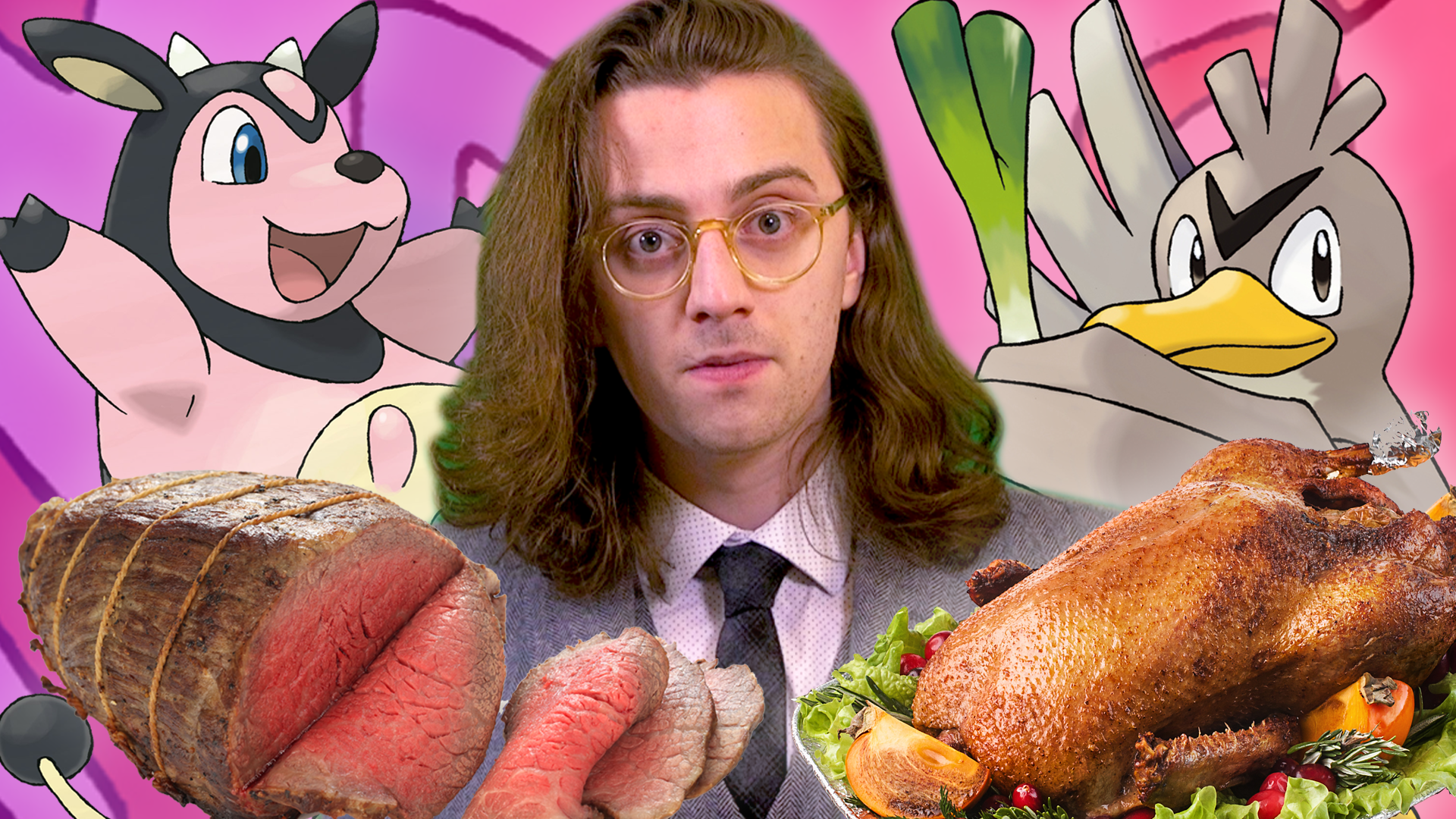 Brian David Gilbert looks dejectedly at the camera. He is surrounded by the Pokémon Miltank and Farfetch'd along with slab of roast beef and a roasted duck.