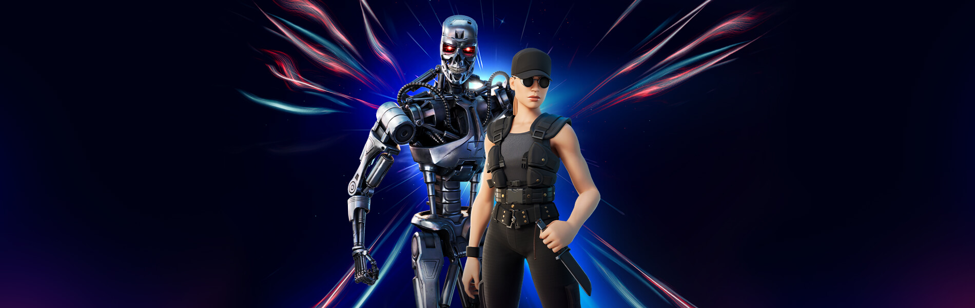 Sarah Connor and the T-800 standing against a starry time travel background in Fortnite