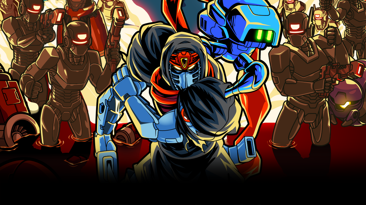 Promotional art from Cyber Shadow that shows a Ninja standing in front of an army of robots