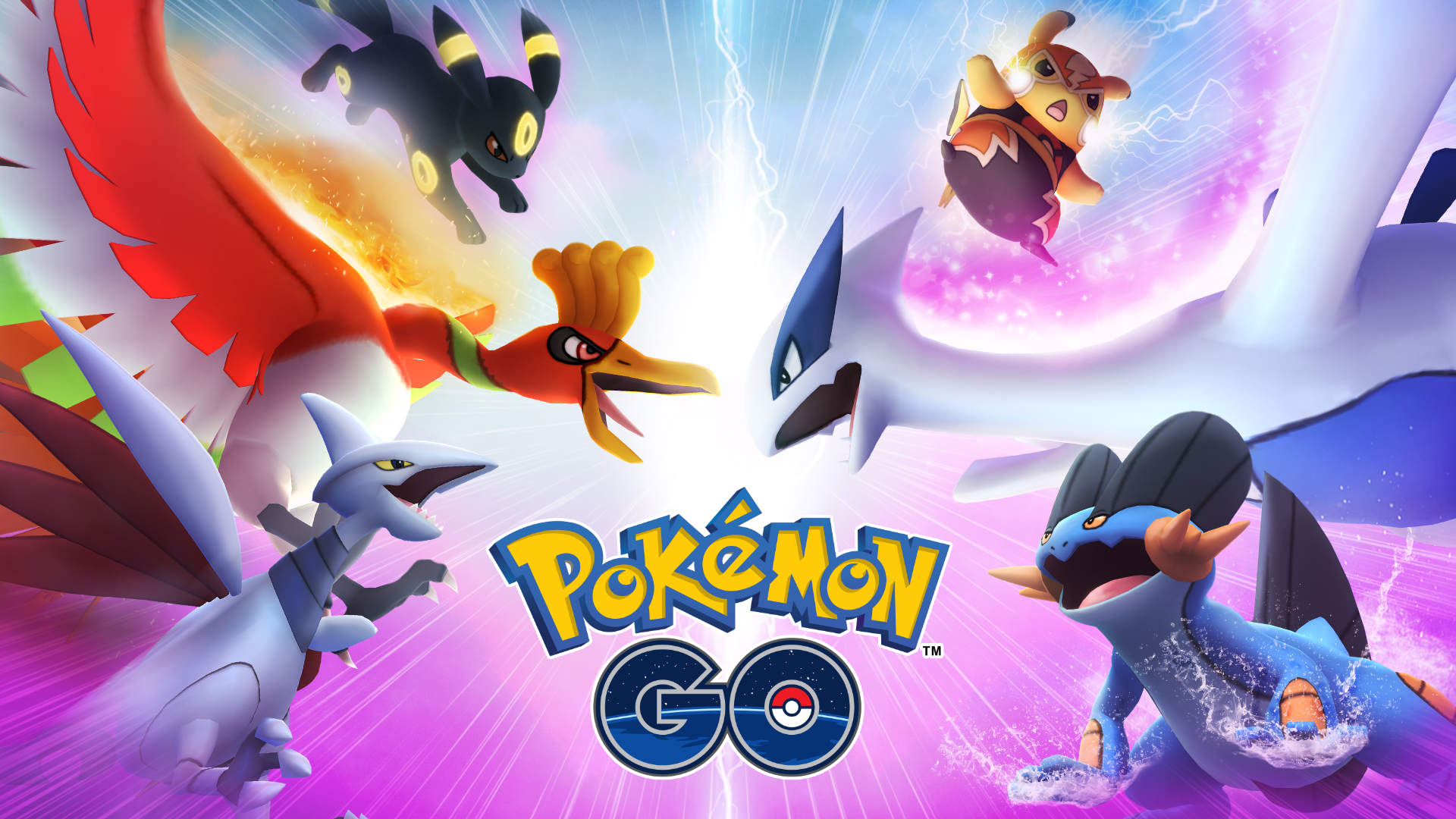 Promotional image for the Pokémon Go Go Battle league, showing Ho-Oh, Swampert, Skarmory, Luchador Pikachu, and Umbreon.