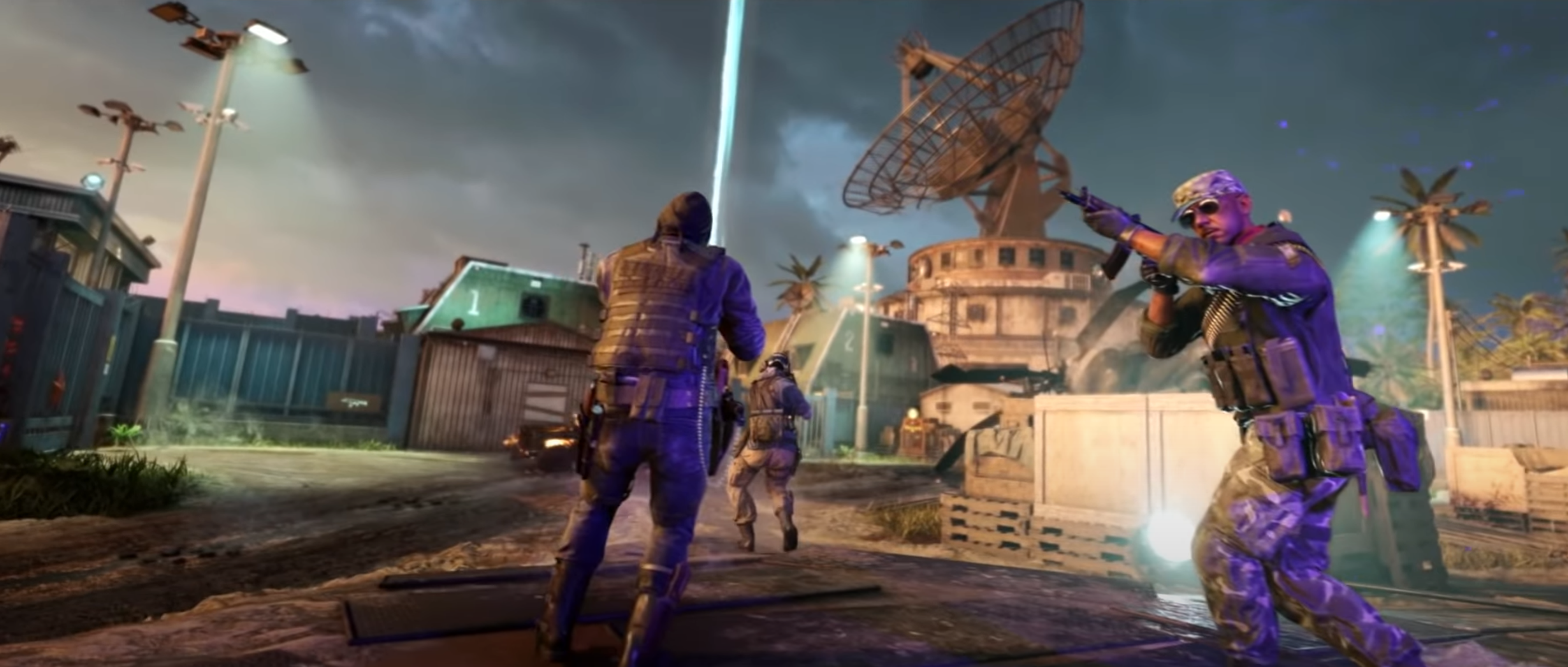 Three players explore the Firebase Z Zombies map from Call of Duty: Black Ops Cold War