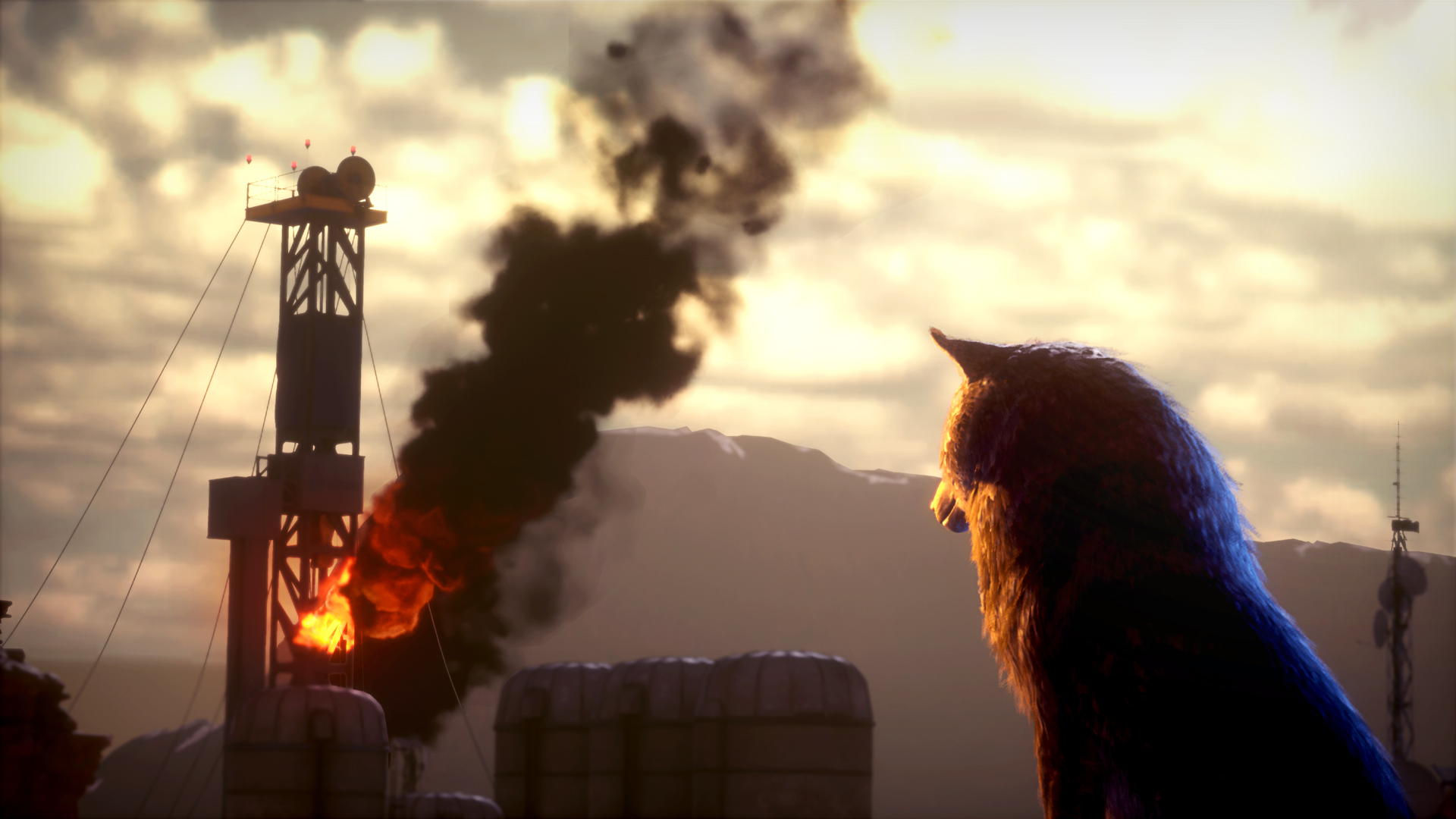 A wolf looks at a fuel refinery burning oil in the distance