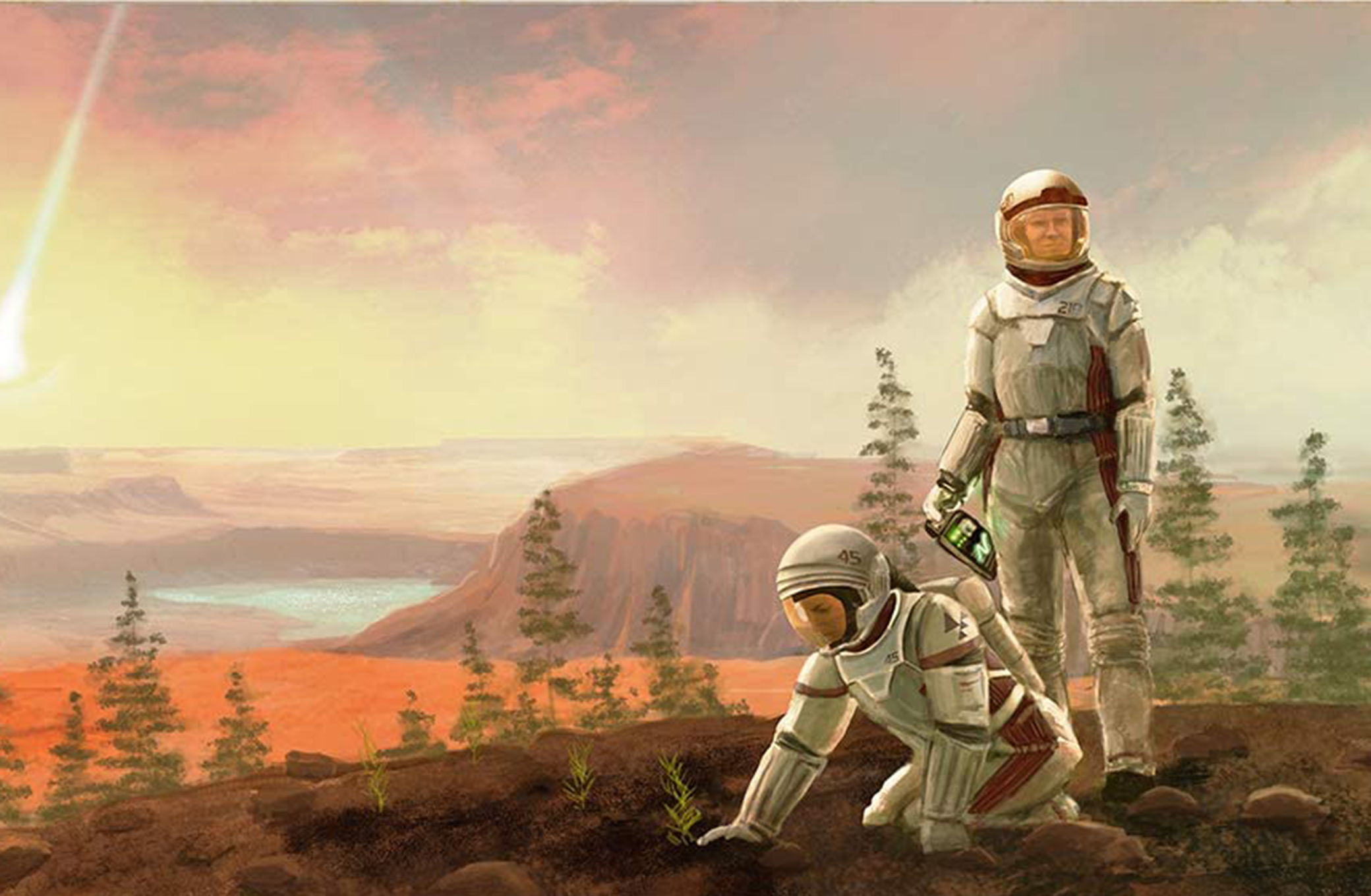 Cover art for Terraforming Mars shows two astronauts on the red planet's hillside, surrounded by green trees.