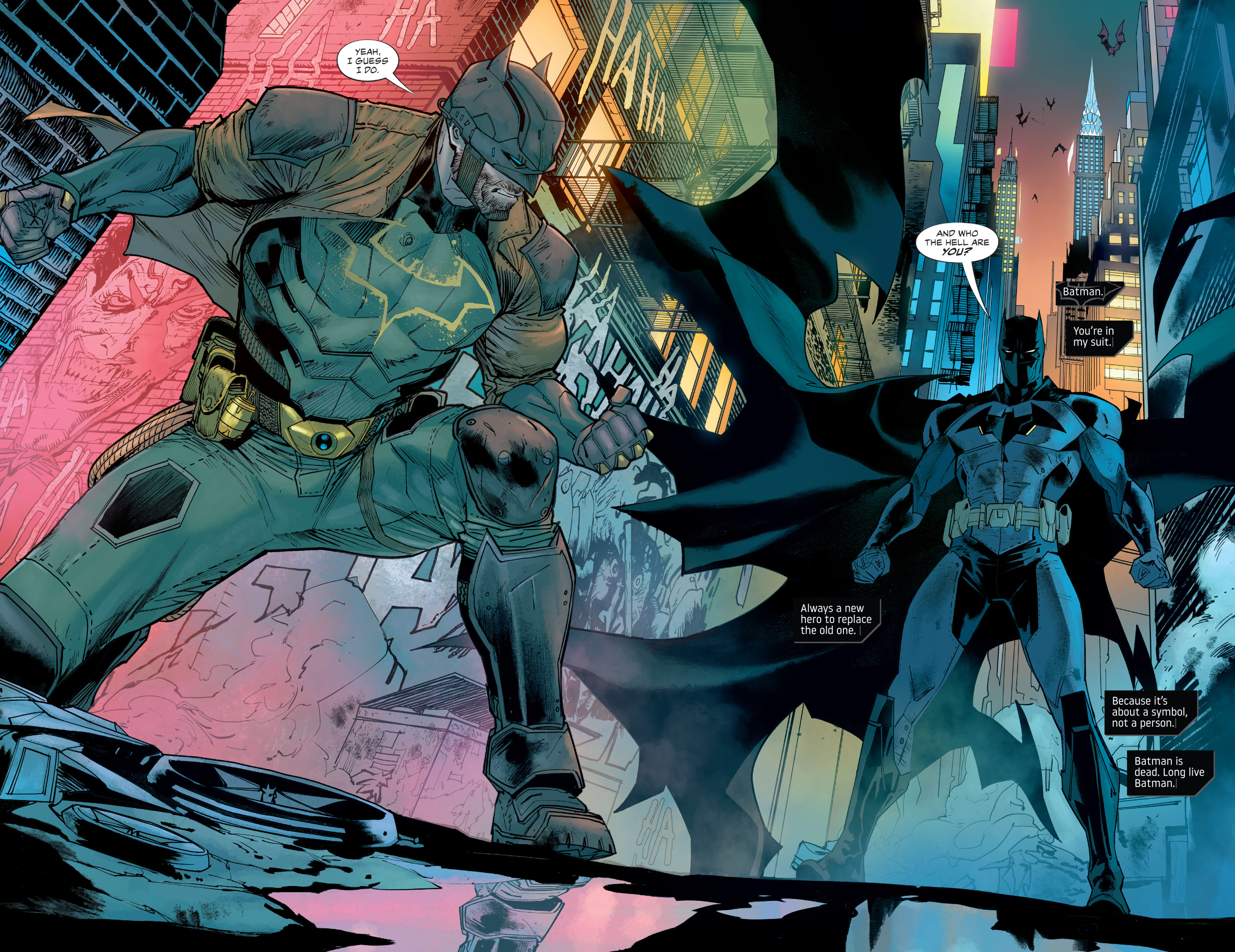 Bruce Wayne (Batman, in a stripped down and damaged suit) meets Tim Fox (Batman, with a mask that covers his entire face) in an alley in a futuristic Gotham City in Future State: Dark Detective #3, DC Comics (2021).