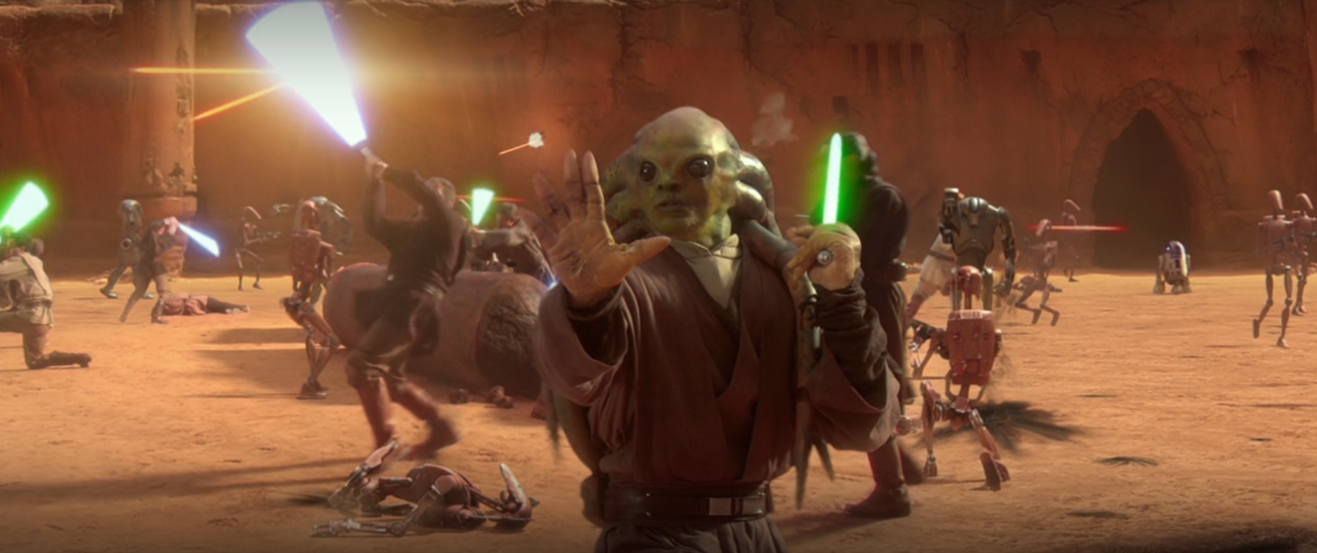 Kit Fisto uses the Force on the battle droid version of C-3PO in Star Wars: Attack of the Clones