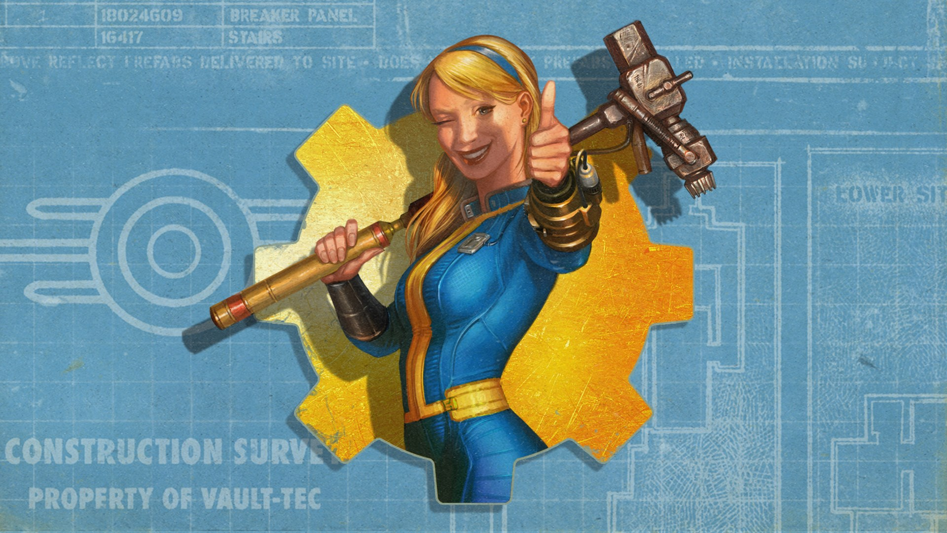 A blond woman holding a power hammer stands dressed in a blue and yellow jumpsuit.