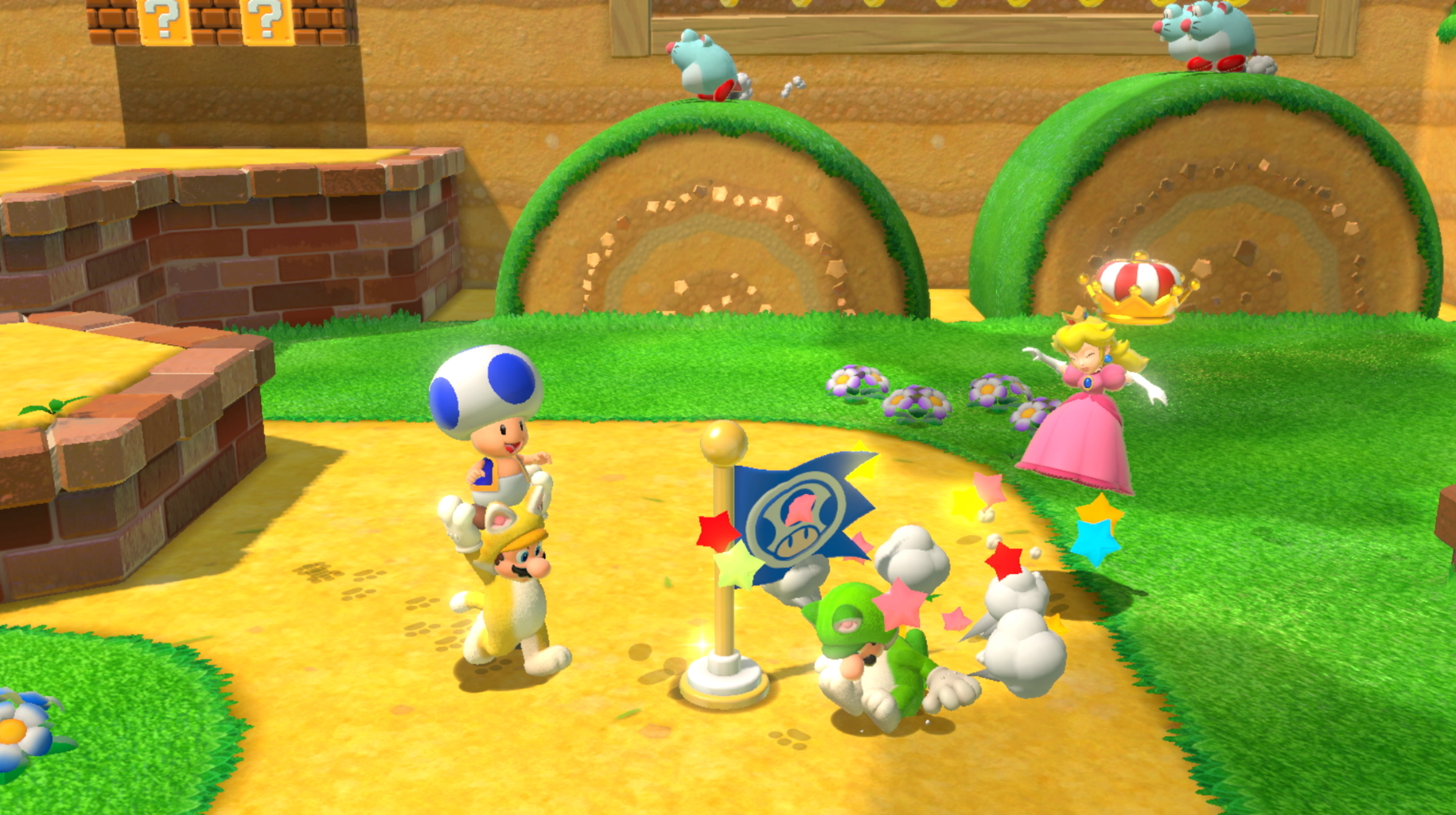 Mario and pals in multiplayer of Super Mario 3D World