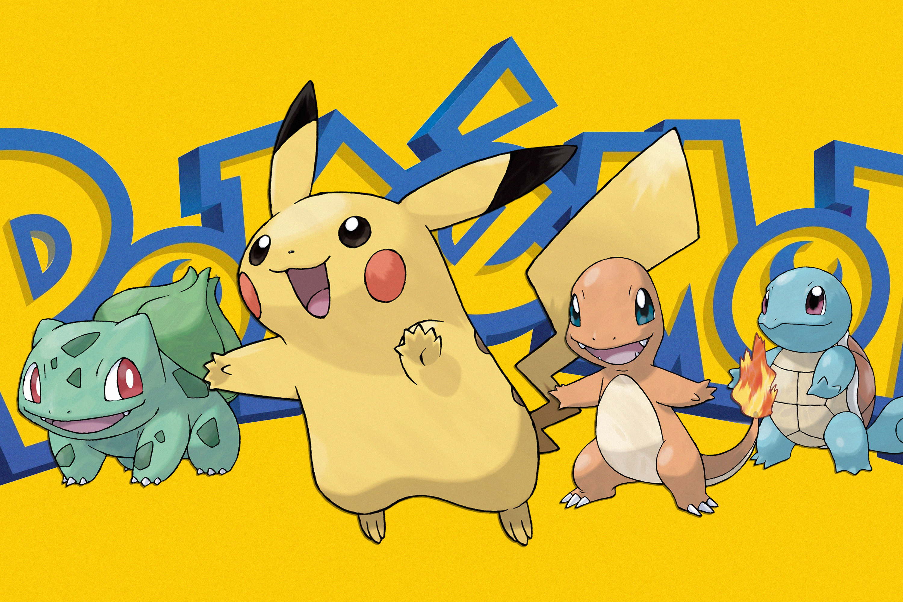 Graphic featuring Pokemon characters on a yellow background and the Pokemon logo